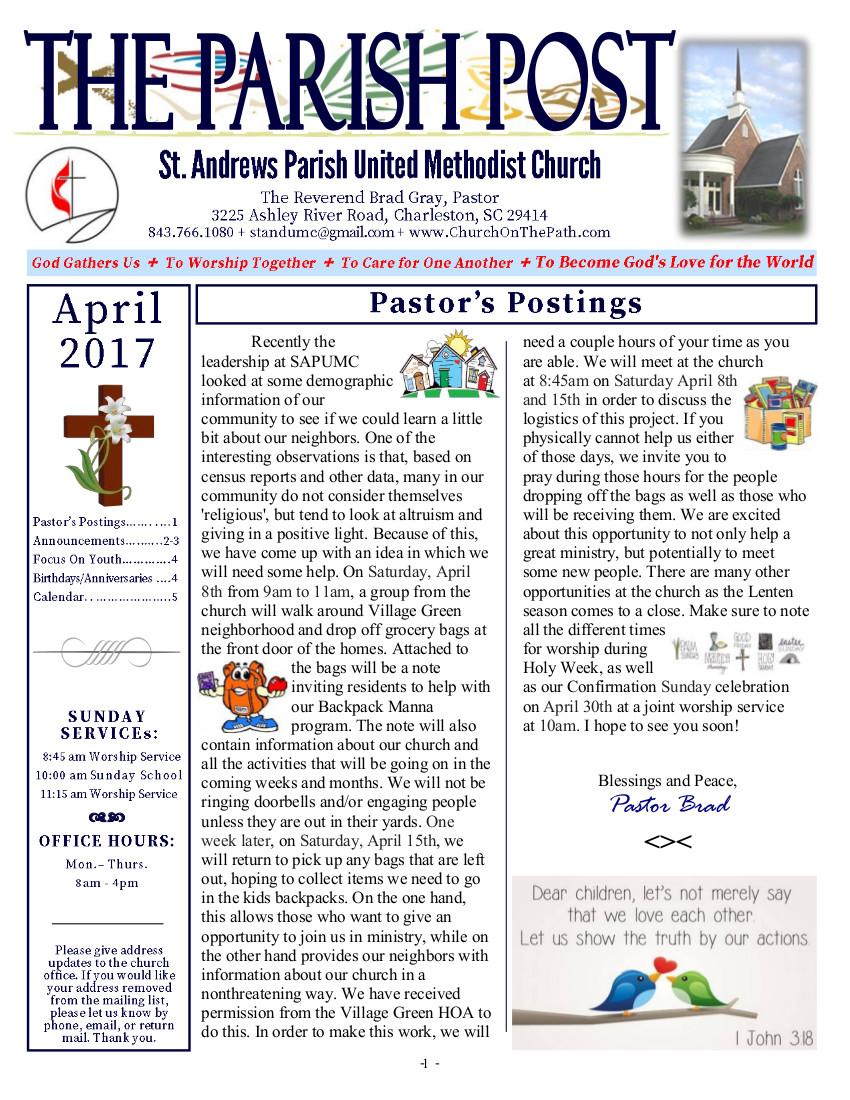 St. Andrews Parish United Methodist Church April 2017
