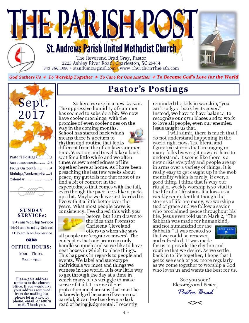 St. Andrews Parish United Methodist Church - September Newsletter