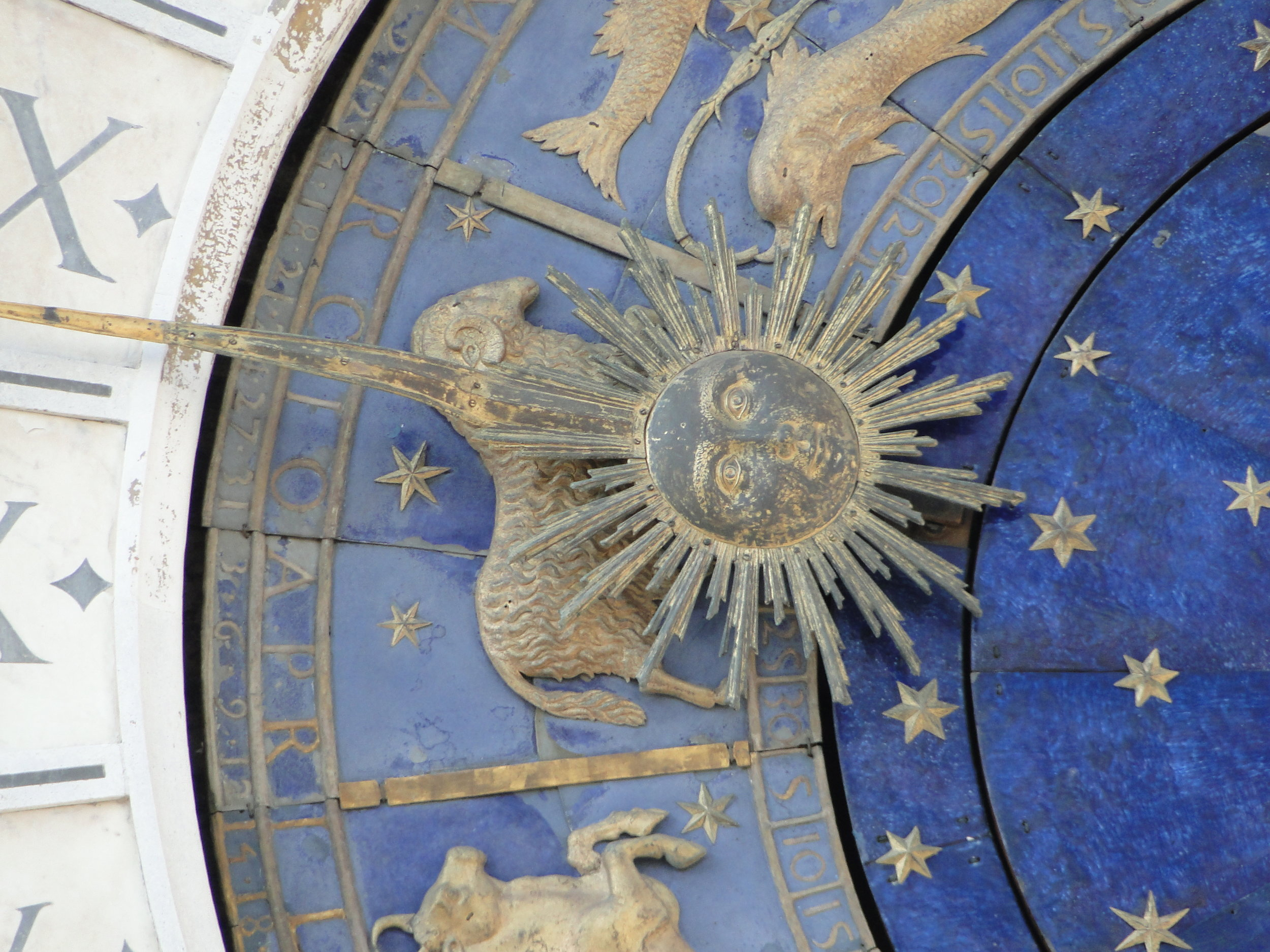 Close-up of the zodiac symbols on St. Mark's Clock Tower
