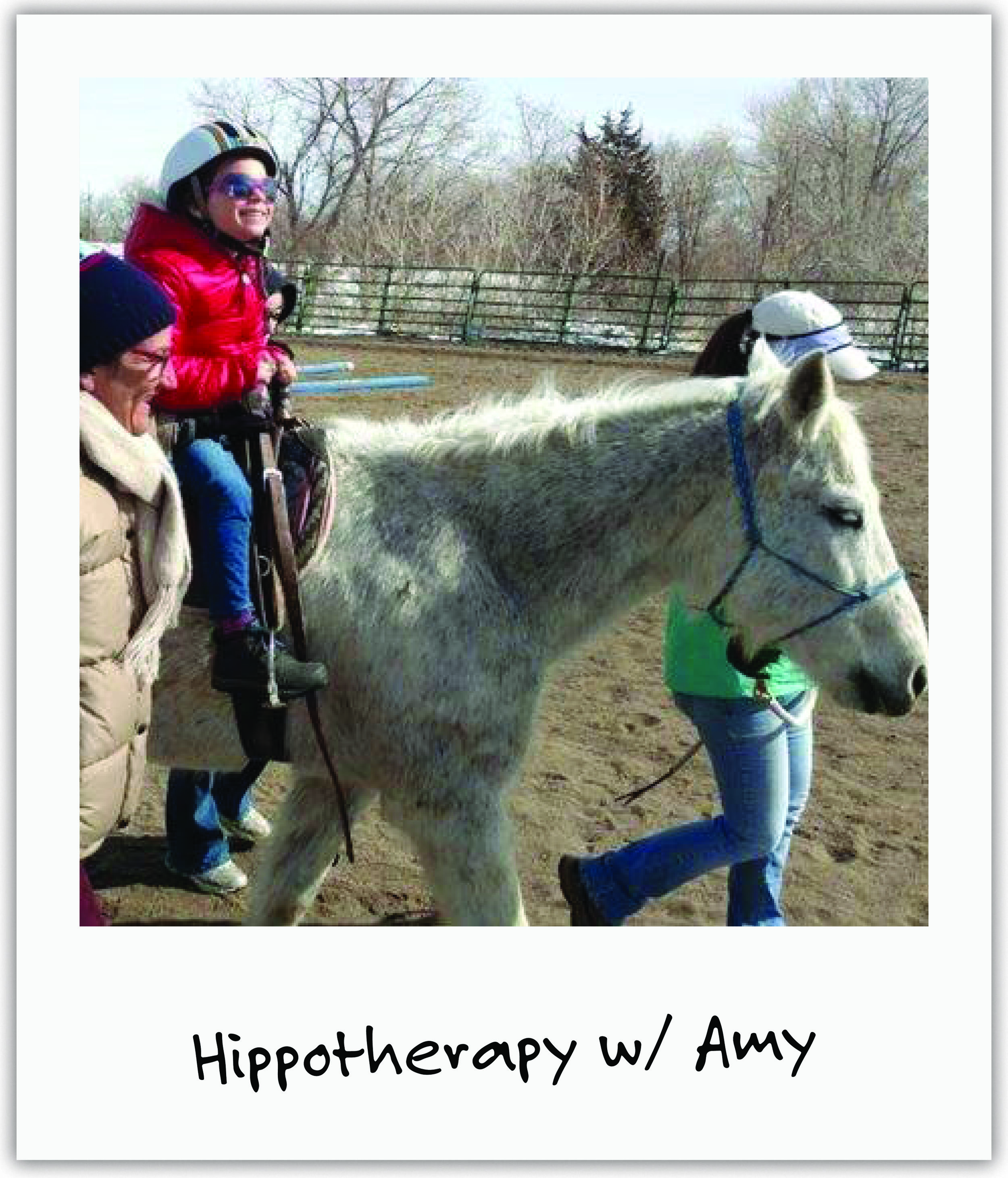 Front Range Hippotherapy heard of Mila's fight and offered weekly riding sessions to keep her strong and stimulate her senses.