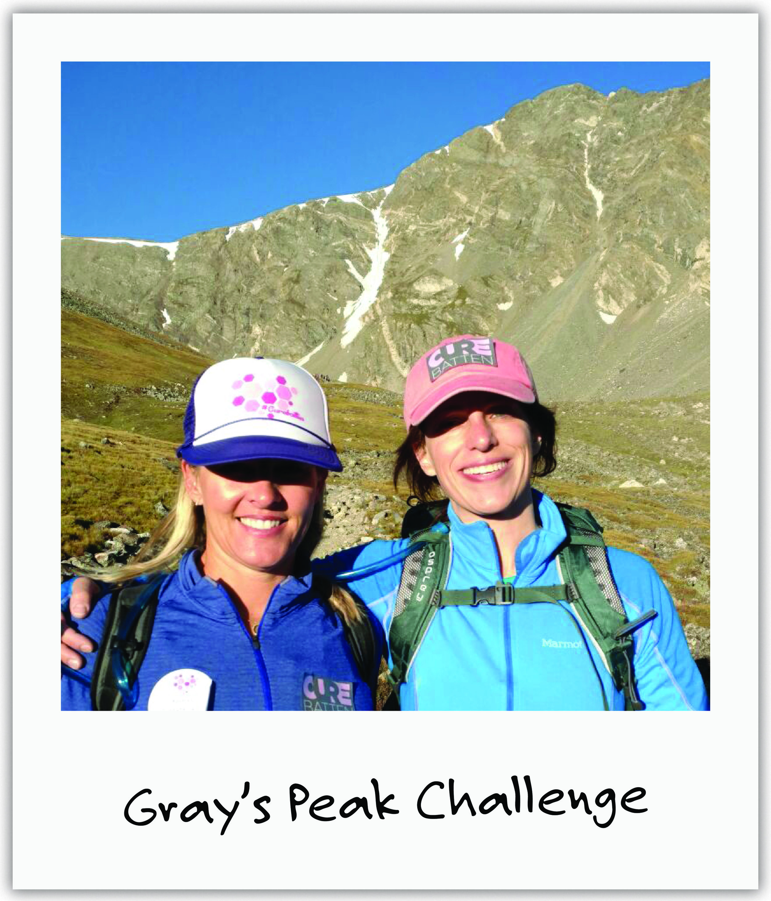 Mila's mom Julia hiked up Grays Peak to 14,278 ft together with other parents fighting for their kids with Batten Disease, including new friend and Batten pioneer Kristen.
