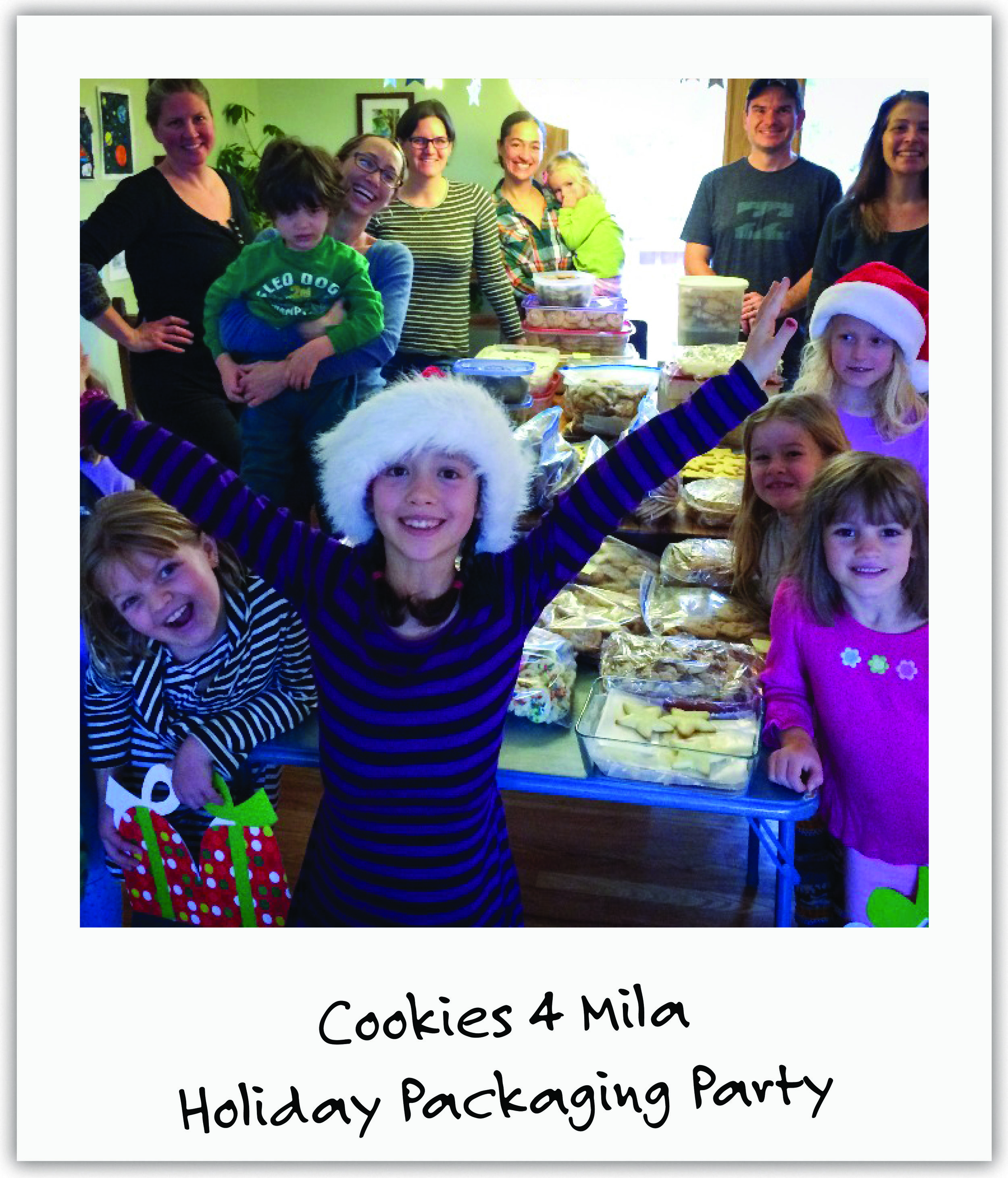 Fifteen families and 2 bakeries, led by Mila's biggest supporter Dana, baked, packaged and delivered 800 boxes of holiday cookies in one weekend!