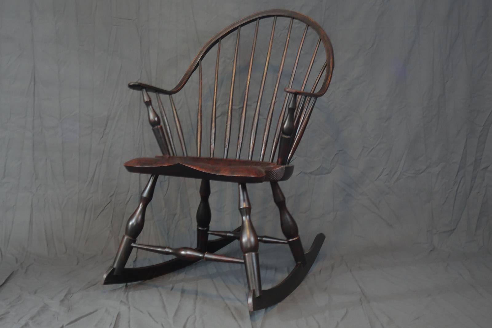 Continuous arm windsor rocking chair