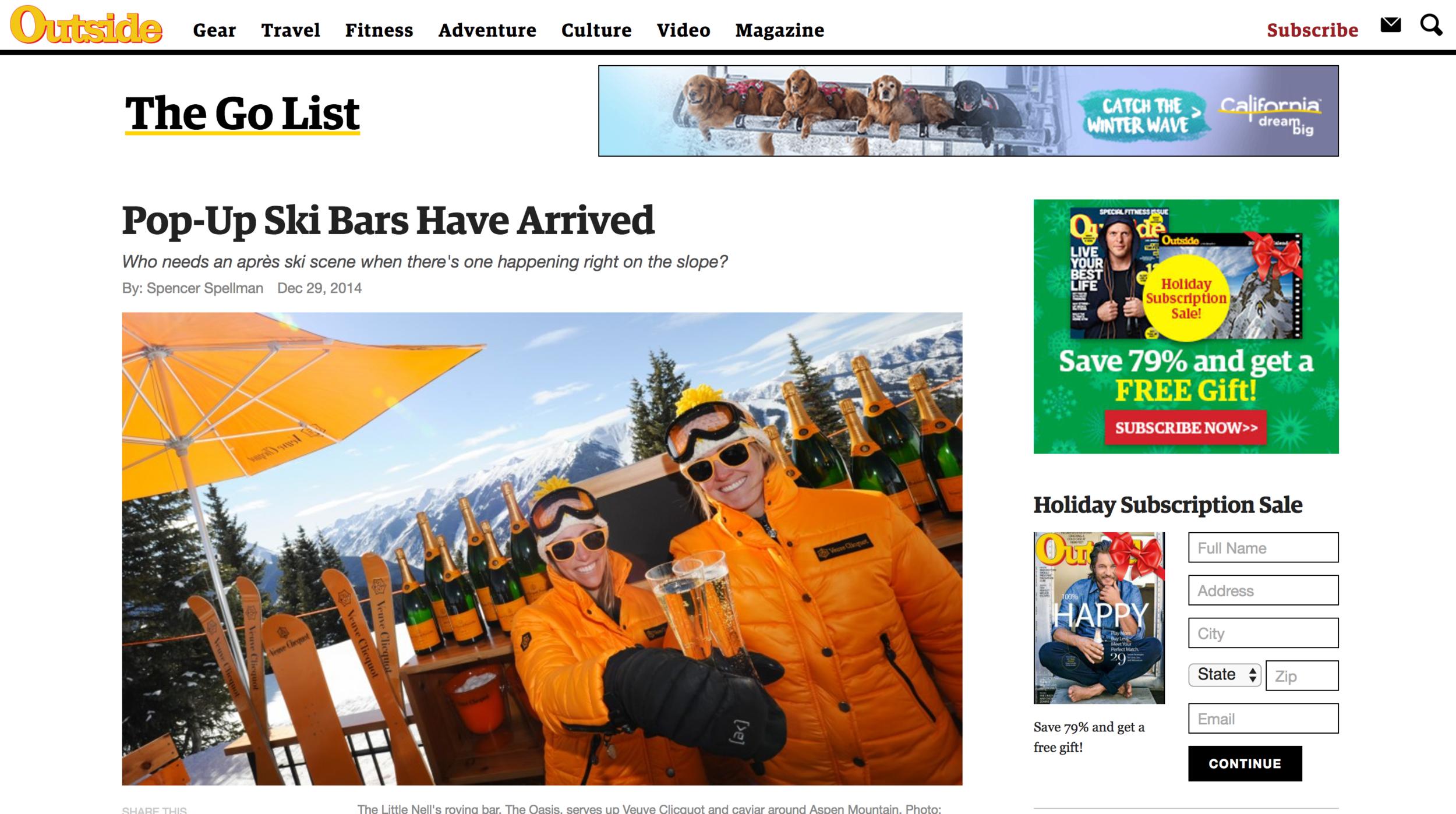 Outside Magazine:Pop-Up Ski Bars Have Arrived
