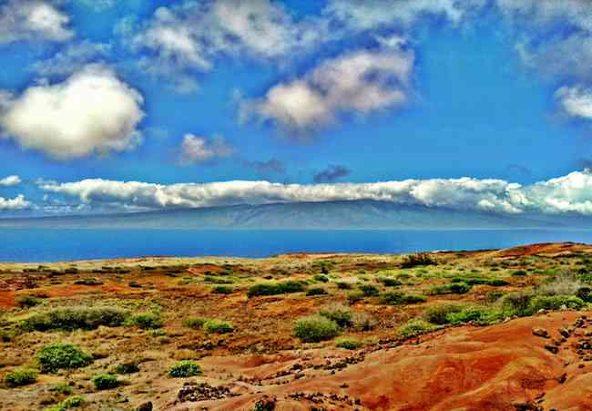 The island of Molokai from the Hawaii island of Lanai