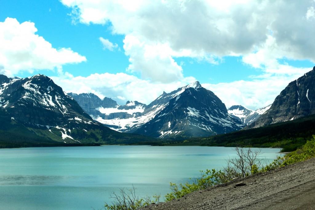 Lake Sherburne on the eastern side of Glacier National Park.