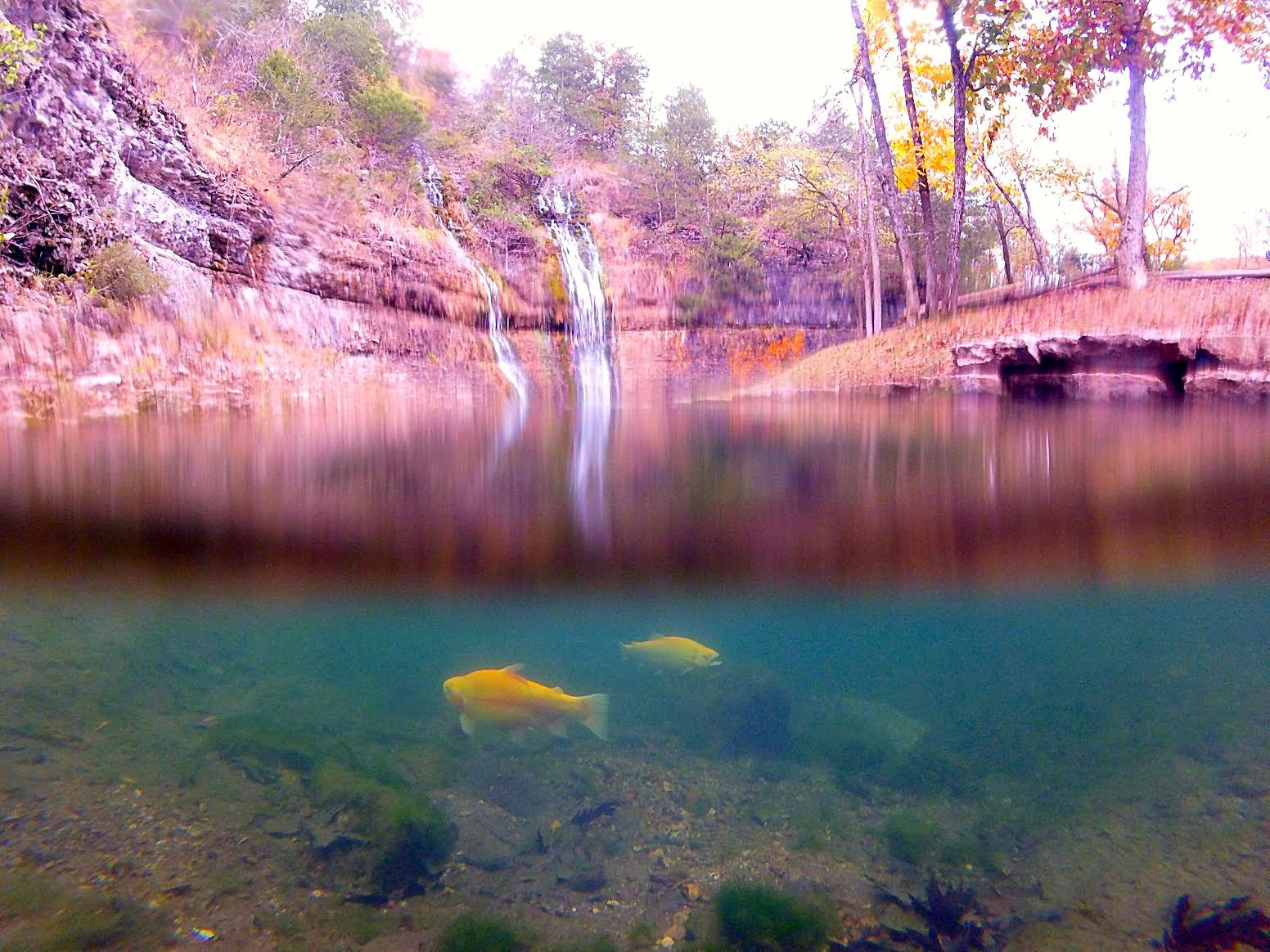 GoPro photo of waterfall in Ozarks Mountains
