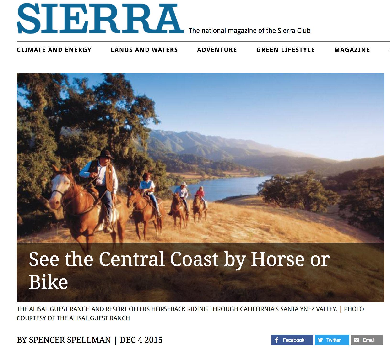 Sierra Magazine: See the Central Coast by Horse or Bike