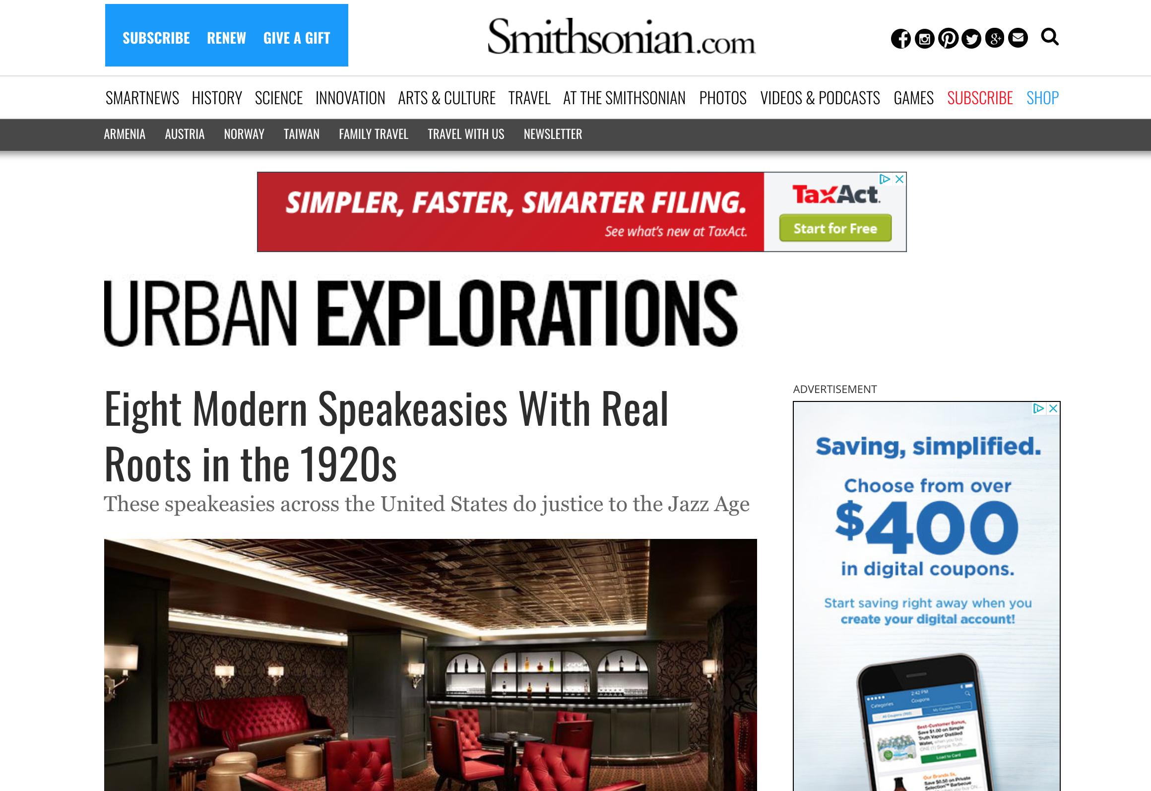 Smithsonian: Eight Modern Speakeasies