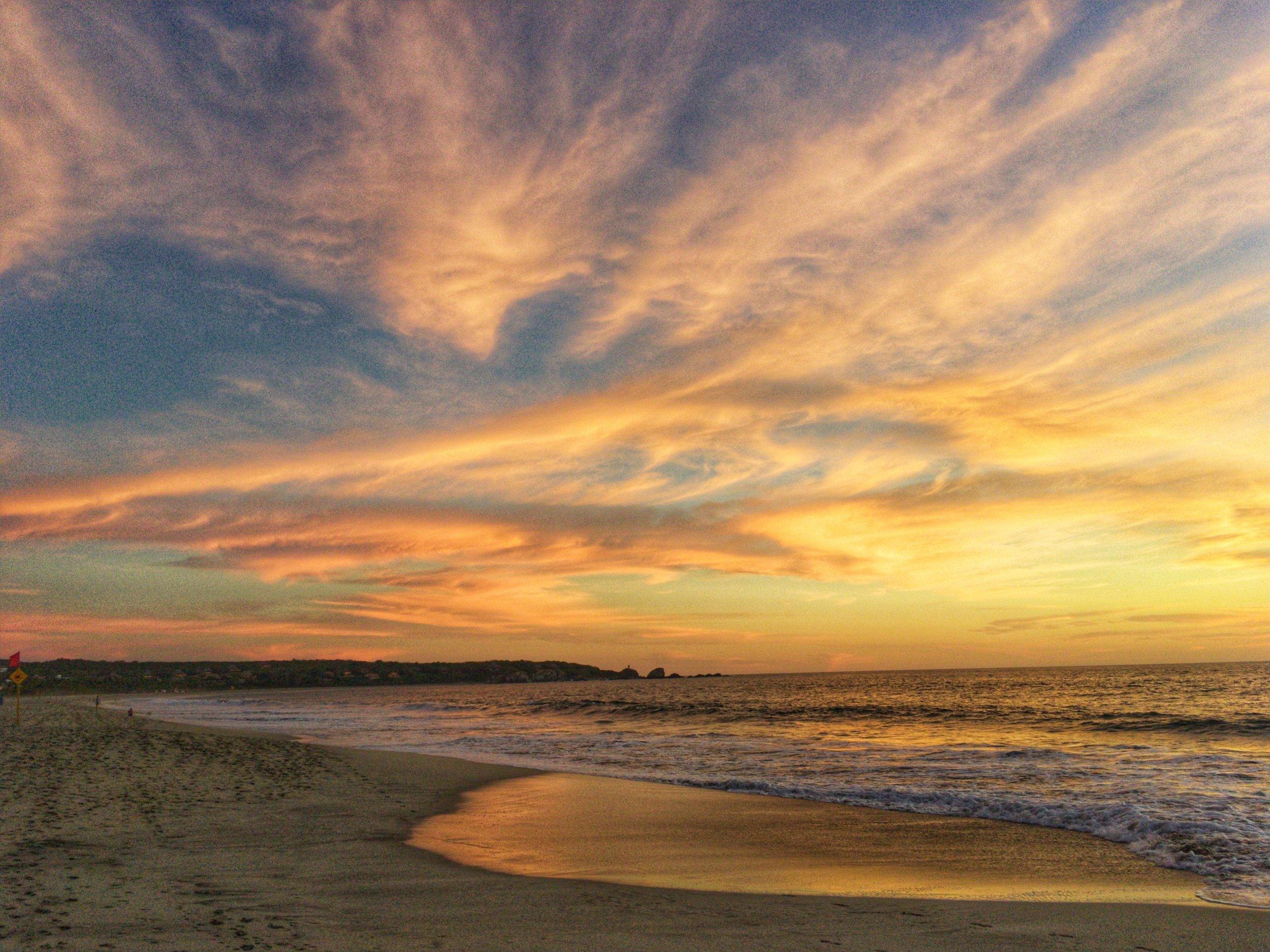 Playa Zicatela beach sunset