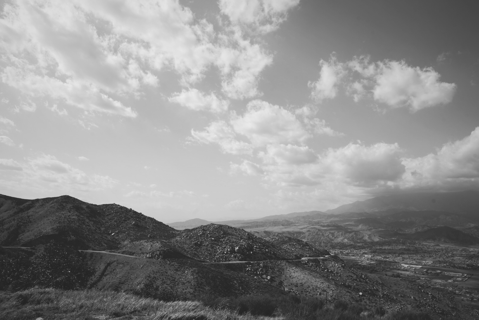 Angeles National Forest in black and white