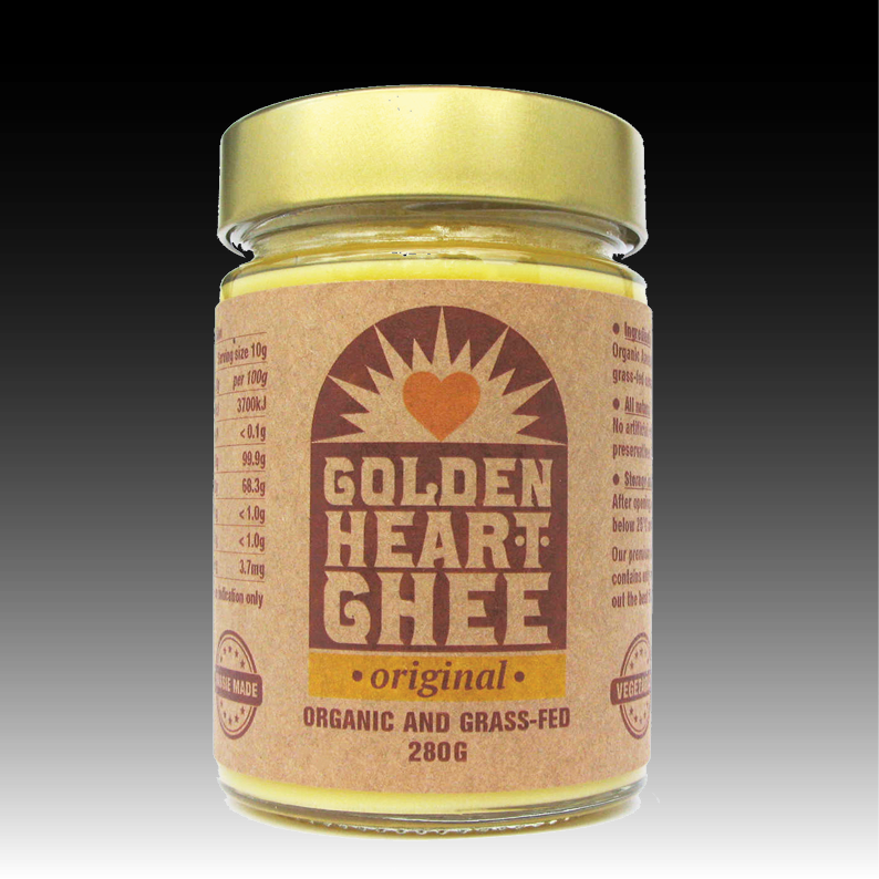 Original ghee - > Available in 280g and 500g sizes in glass jars > 100% natural Australian organic grass-fed butter fat > Ghee is a healthy and tasty alternative to cooking with butter > NO artificial colours, NO artificial flavours, NO preservatives, NO GMO, NO hydrogenation > Ideal for high temperature sauteing and frying – add incredible taste to meats, fish, vegetables and desserts > Created and packaged in Tasmania
