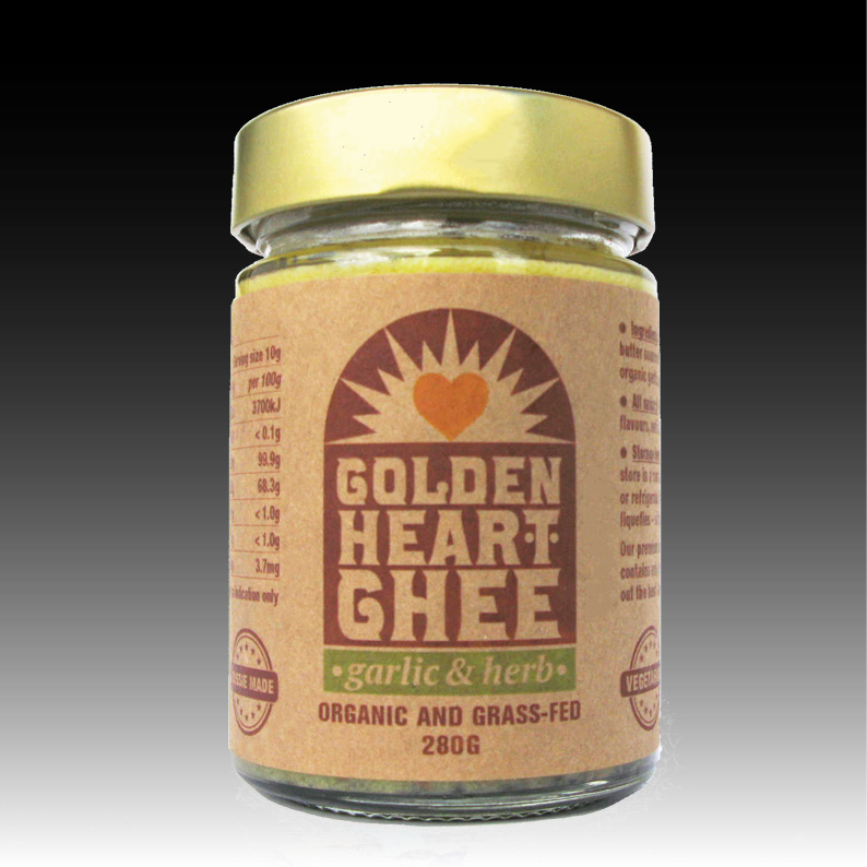 Garlic & herb ghee - > Available in 280g size in glass jars > 100% natural Australian organic grass-fed butter fat with Australian organic garlic, organic oregano and organic thyme > NO artificial colours, NO artificial flavours, NO preservatives, NO GMO, NO hydrogenation > The organic garlic, oregano and thyme flavours will give your dishes an incredible boost > Created and packaged in Tasmania
