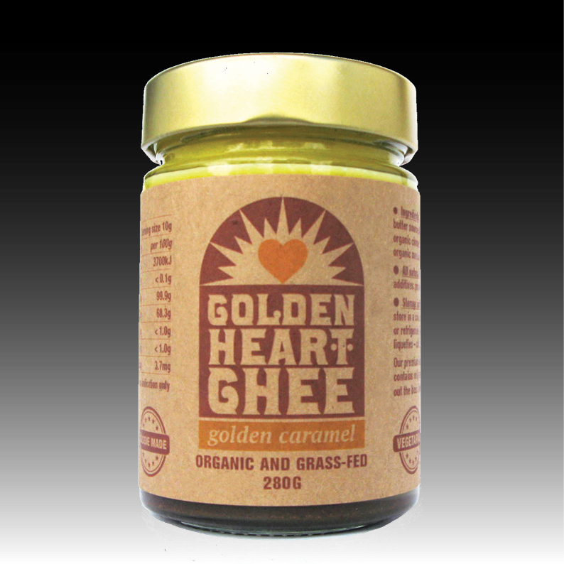 Golden caramel ghee - > Available in 280g size in glass jars > 100% natural Australian organic grass-fed butter fat with Australian organic caramel stevia, organic turmeric, organic cinnamon and monk fruit powder > NO artificial colours, NO artificial flavours, NO preservatives, NO GMO, NO hydrogenation, NO added sugar > The organic caramel stevia, turmeric, cinnamon and monk fruit enhances flavour and nutrient value > A sugar-free sweet spread, add in baking or as a new taste in your desserts > Created and packaged in Tasmania