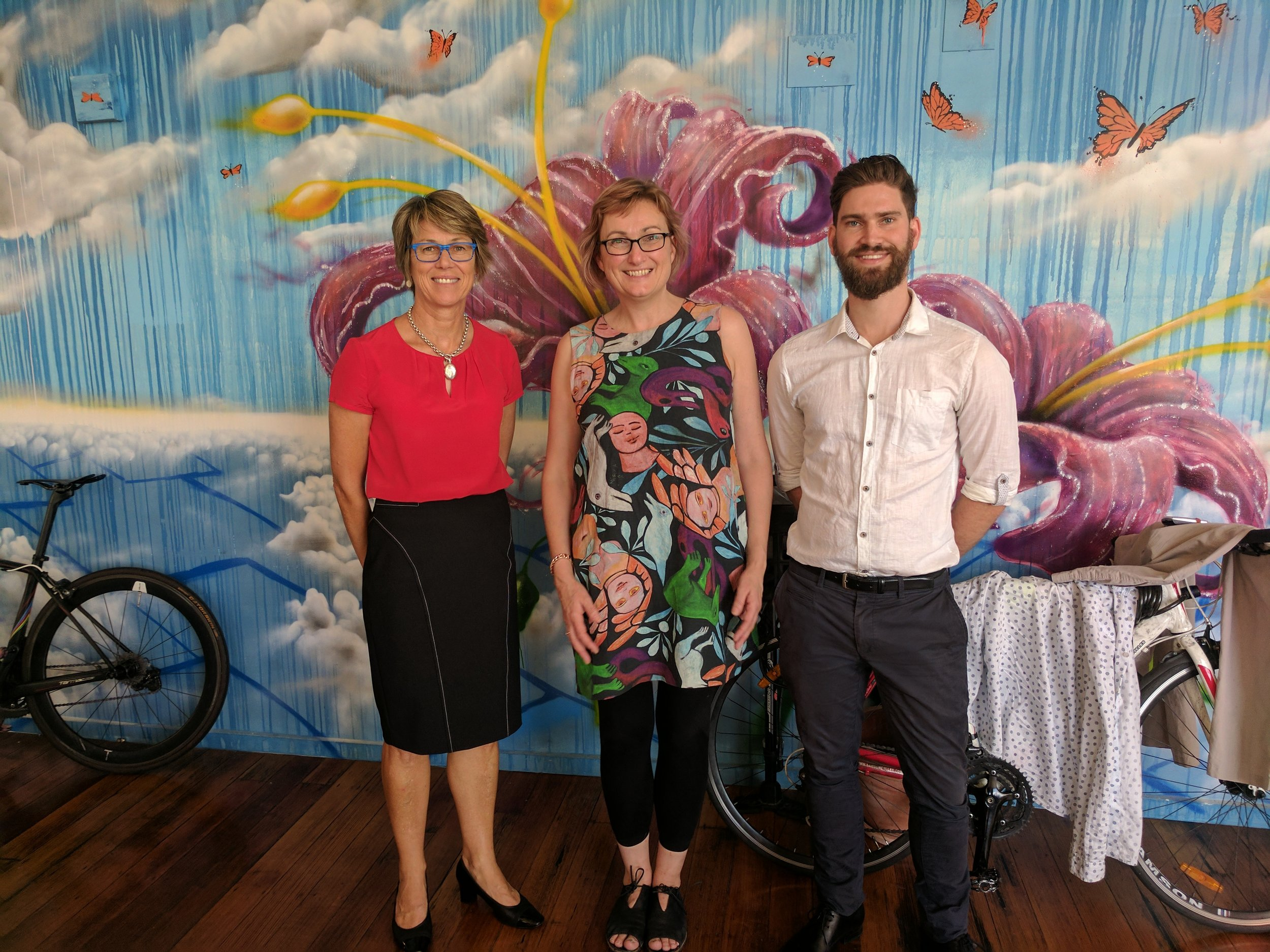 Marion Wands (left), Janet Hopkins (middle) and Alex Stretton (right) catching up in the Melbourne ConNetica office