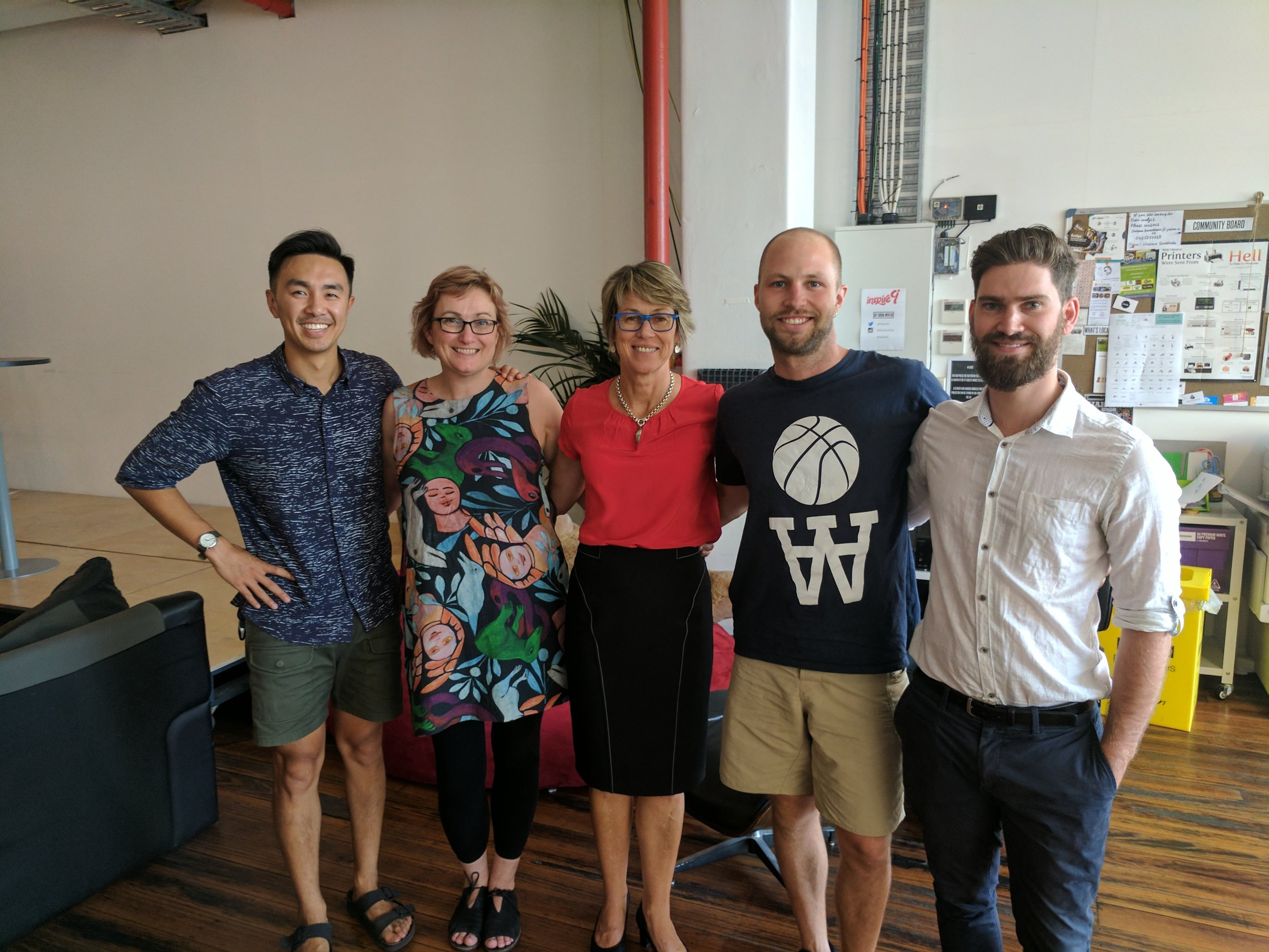 Marion, Janet and Alex meet with members of the Limbr team including CEO and Founder David Chung (far left)and Ops Manager Sandy Buchanon (middle right)