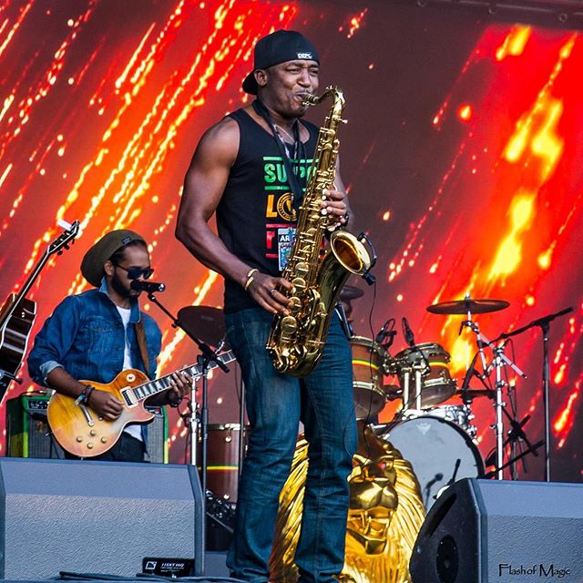 A precious musical experience and very exciting performance to behold! Nicholas Laraque's powerful  fyah upon the sax!! Wow!@nicholaslaraque @ranoymusic @stephenmarley  #stephenmarley #caliroots #caliroots2016 #raggamuffin #reggae #lionorder  #montereybay #legend #supportlocalreggae