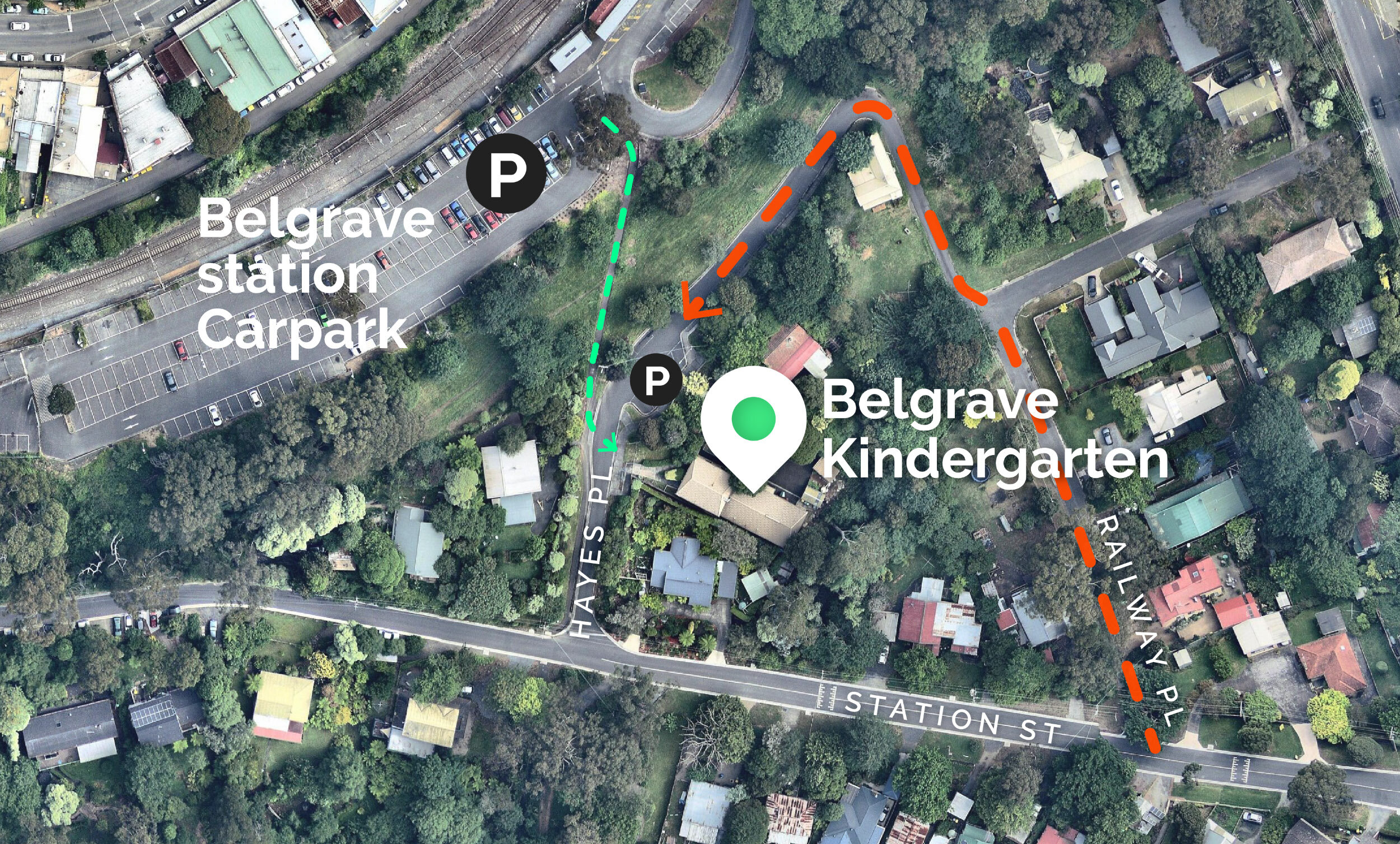 Option 1:  Limited parking on street outside Belgrave Kindergarten. Hayes Place is a one-way street which must be entered via Railway Place (red line)   Option 2:  Park at Belgrave train station and walk one minute to Belgrave Kindergarten (green line)