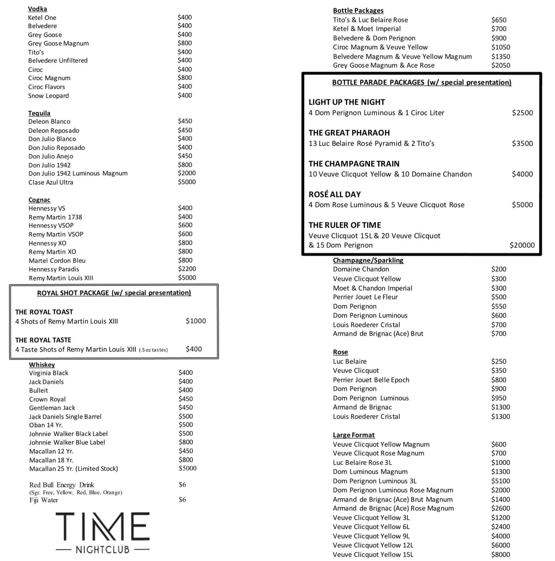 Time Nightclub Bottle Service Menu