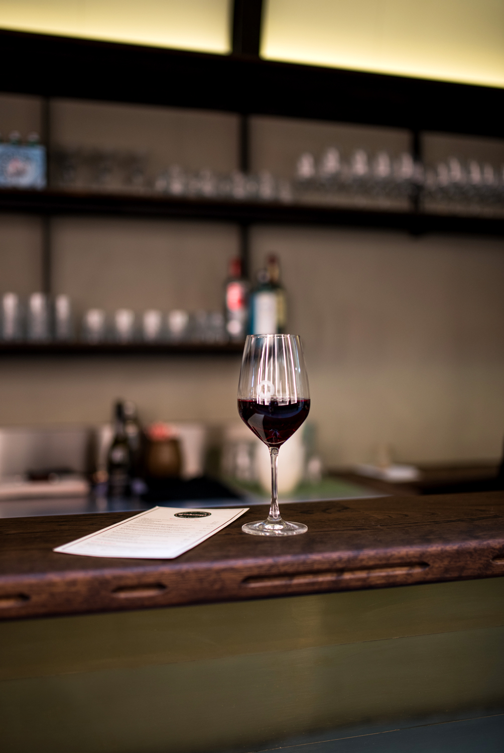 Red wine at the bar