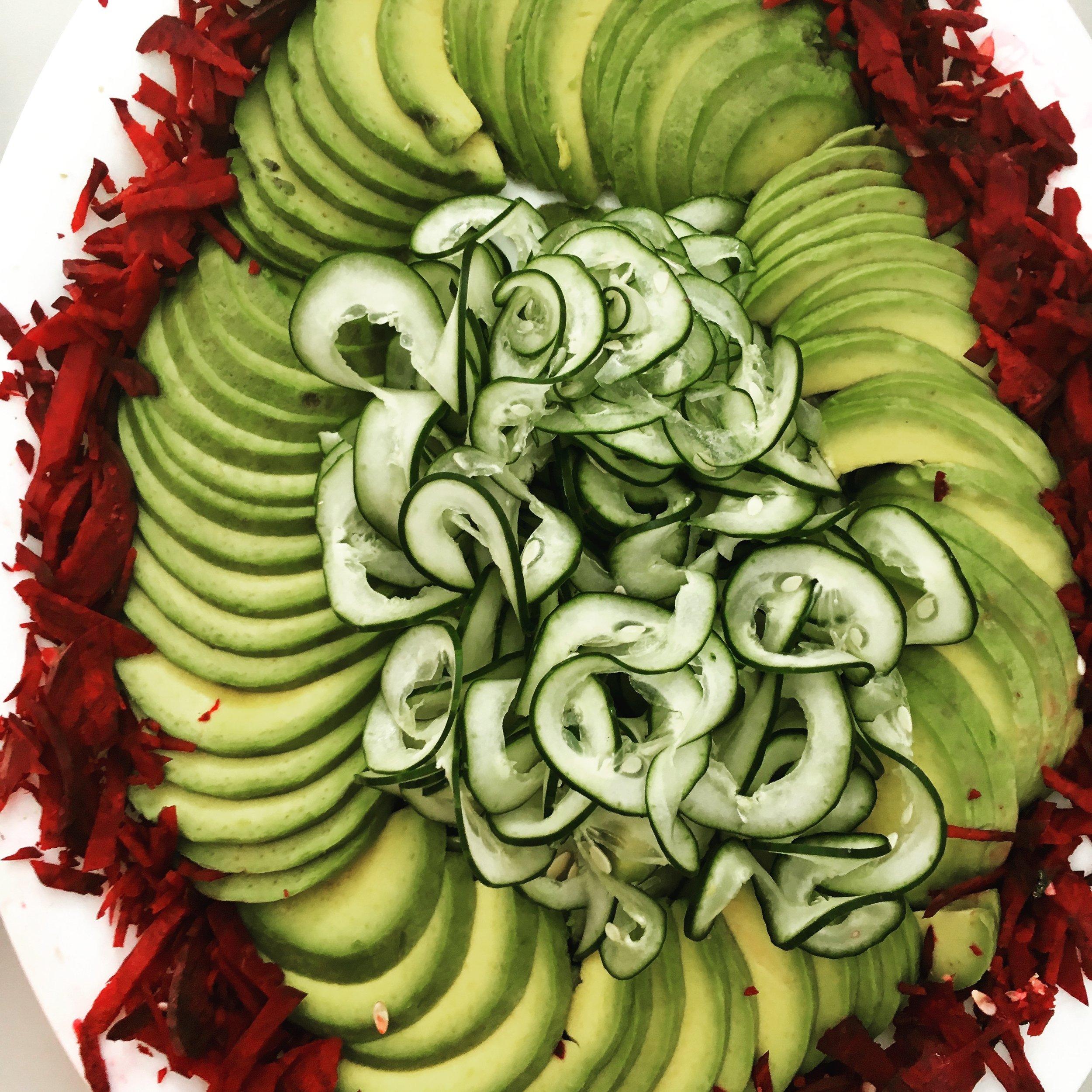 Raw beetroot, avocado and cucumber platter. ©Photo Anita McKenzie
