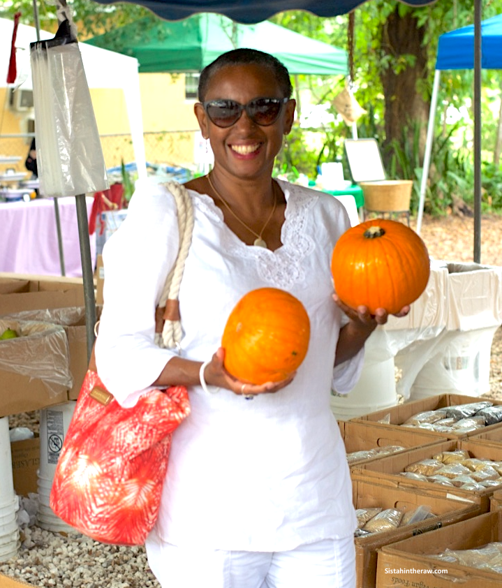 Sistahintheraw selecting pumpkins in Miami, Florida