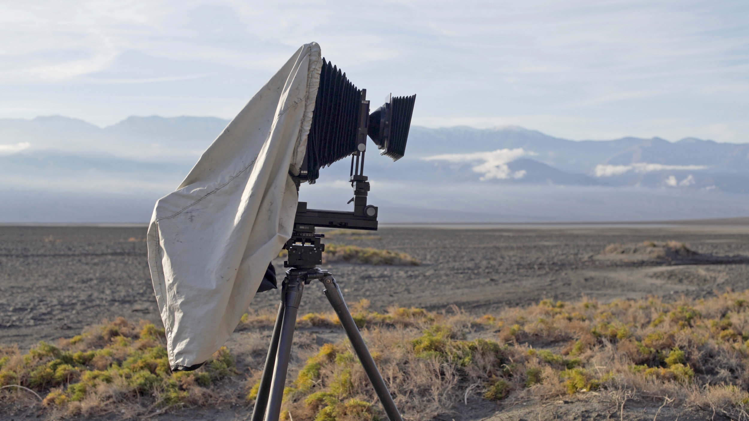 Shown above is the BTZS Focusing Hood attached to my Arca-Swiss F Metric 8x10 camera in Death Valley National Park. This dark cloth is compact, fits the camera very well, and even functions well in the wind.