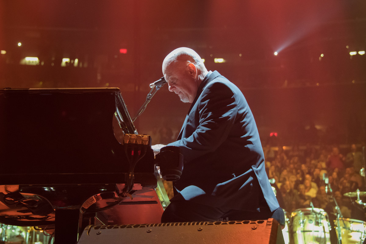Billy Joel at the piano at Madison Square Garden in New York, NY on April 13, 2018. Photo Credit: Myrna Suárez & Mike Colucci