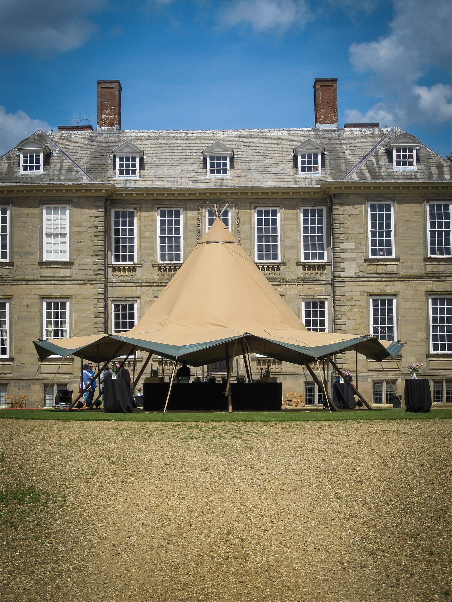 Tipi outside a stately home