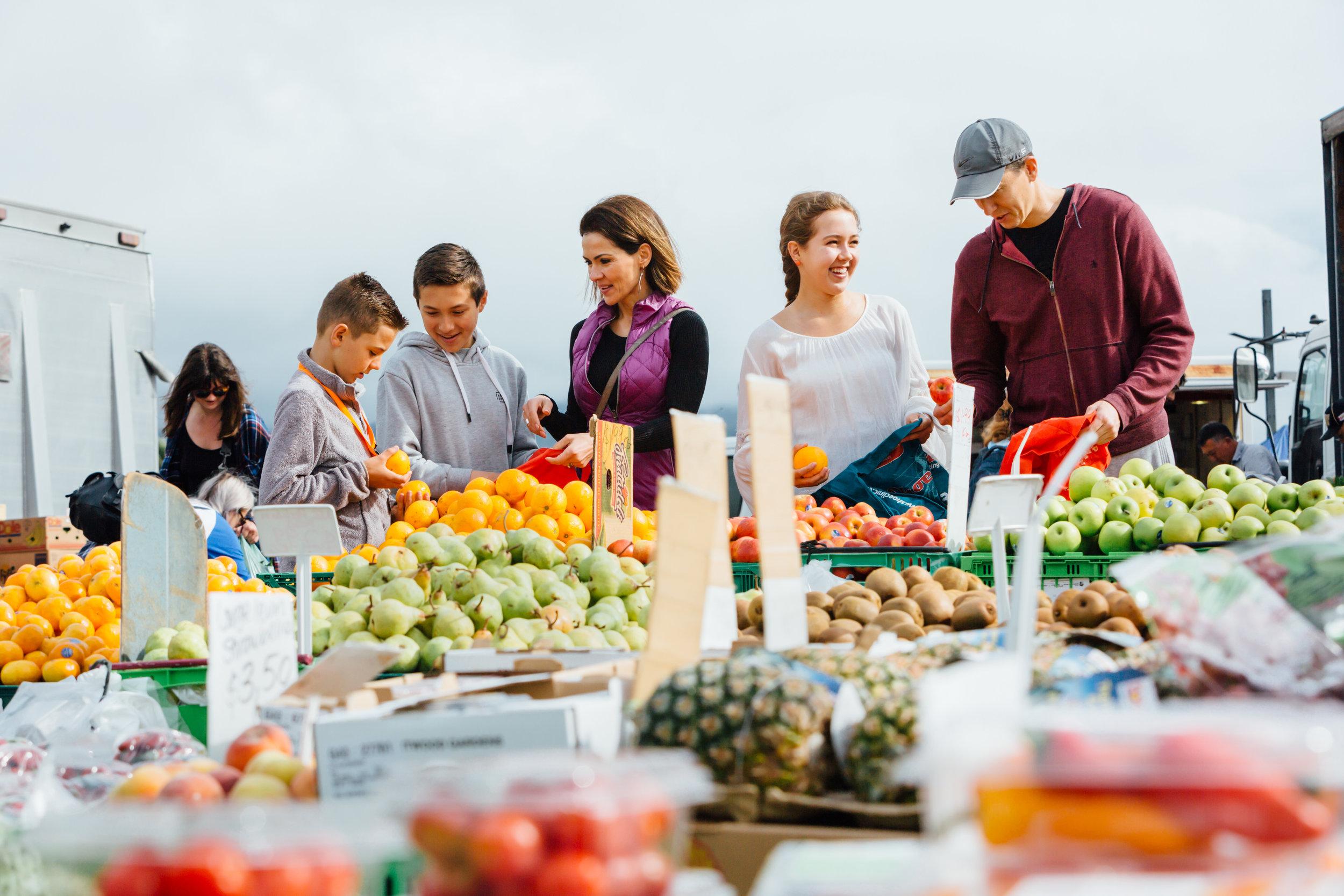 Family at the Wellington Farmer's Market