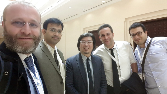 Dr. Moatez MEKKI  ( left) together with Donald TAN (middle) from Singapore and colleagues  during the Middle East African Council for Ophthalmology (MEACO) congress 2017