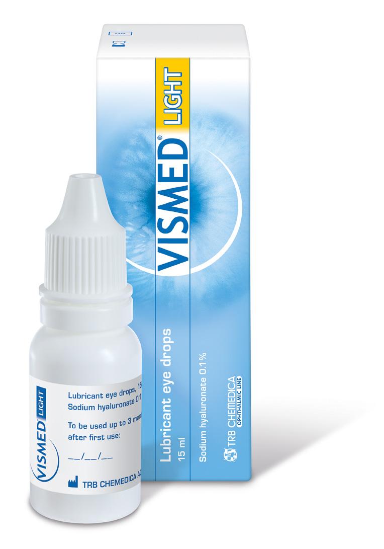 VISMED® LIGHT  enthält 0,1%  Natriumhyaluronat  und wichtige Elektrolyte.  Erhältlich als Mehrdosisbehältnis mit 15 ml. Steril bis zu 3 Monate nach Öffnung. VISMED® LIGHT wird geschützt durch sanfte und gut verträgliche  Konservierungsmittel.