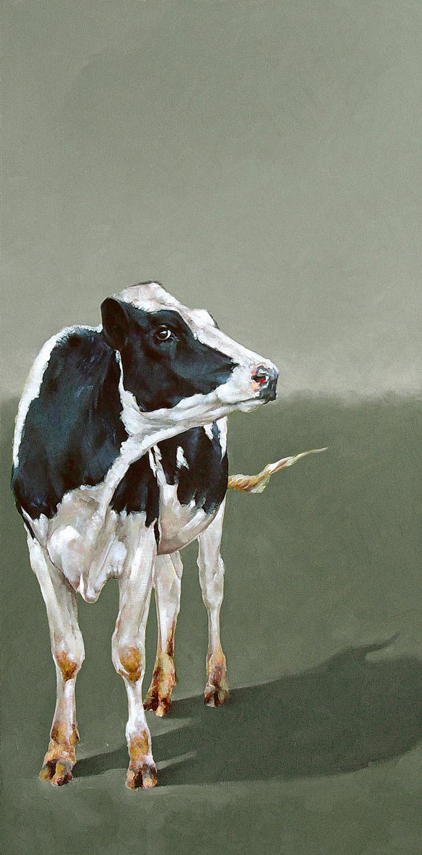 Holstein on Green | 18 x 36| Oil on canvas