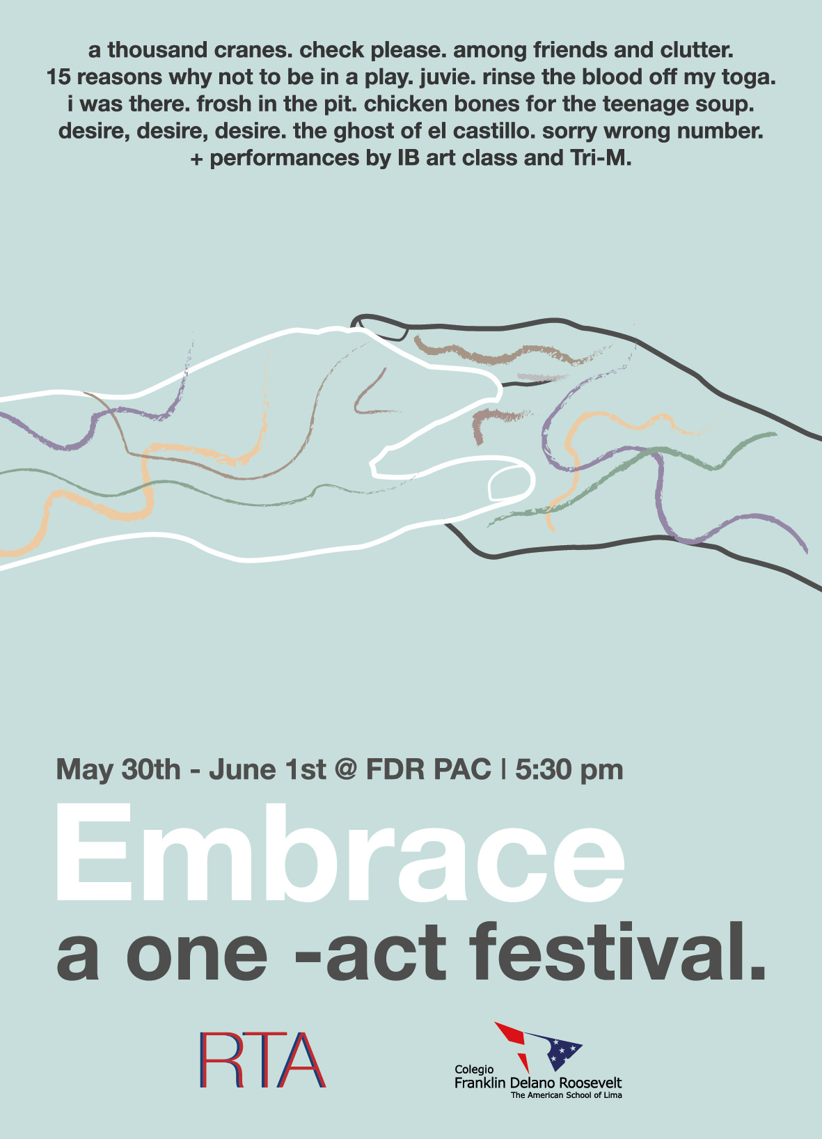 """Embrace: a one-act festival"" Poster"