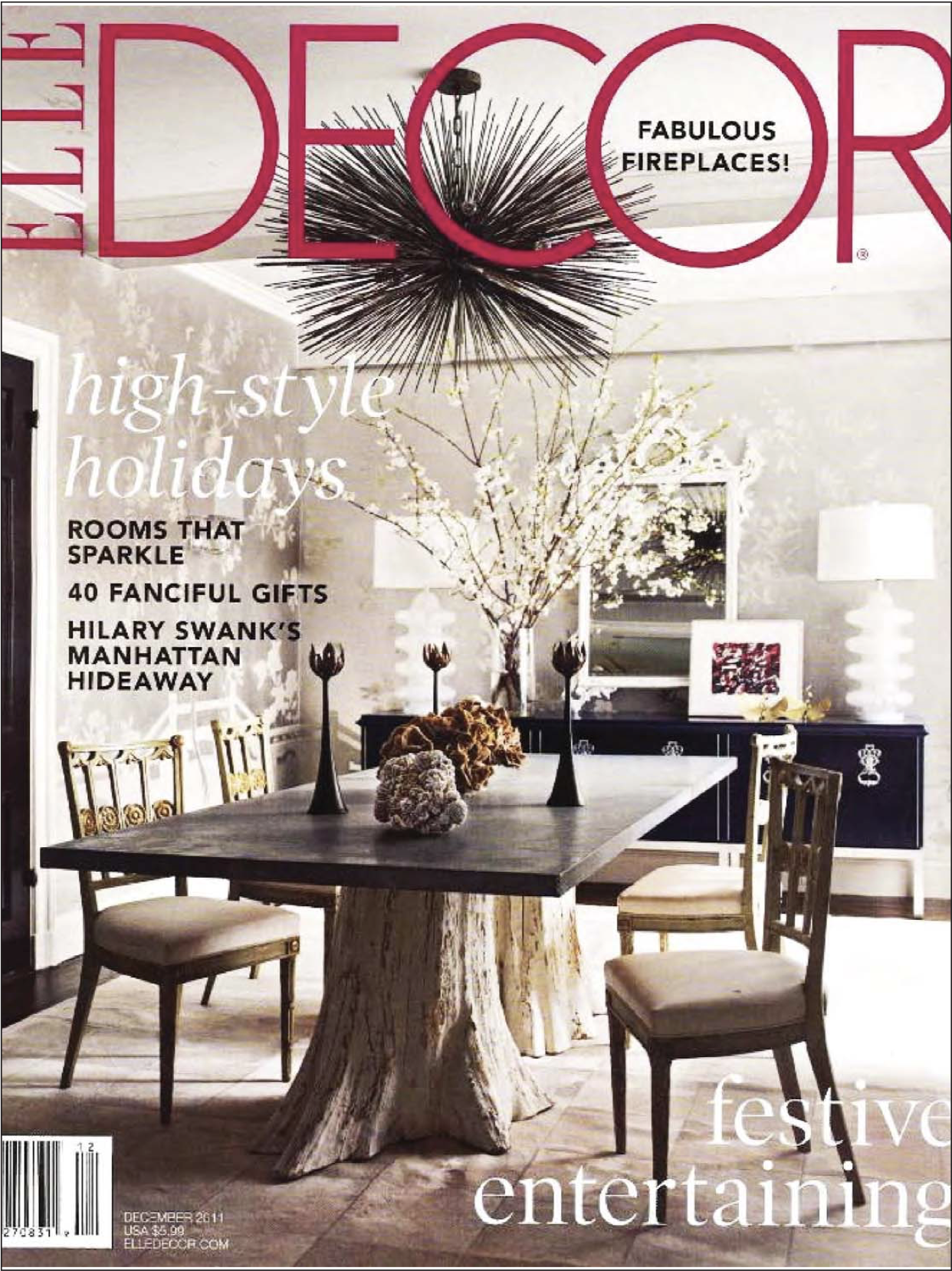 """Fleur, a side table by Farrago Designfor  Bespoke Global  featured in the print version of  Elle Decor  - a global shelter magazine from Dec. 2011 featuring the works of distinguished furniture designers under the category of """"Whats Hot"""""""