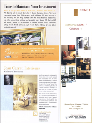 Kismet featured in C&C - For its 5th Anniversary Issue, the Connecticut Cottages and Gardens print version features our outlet partner Kismet under the slogan of