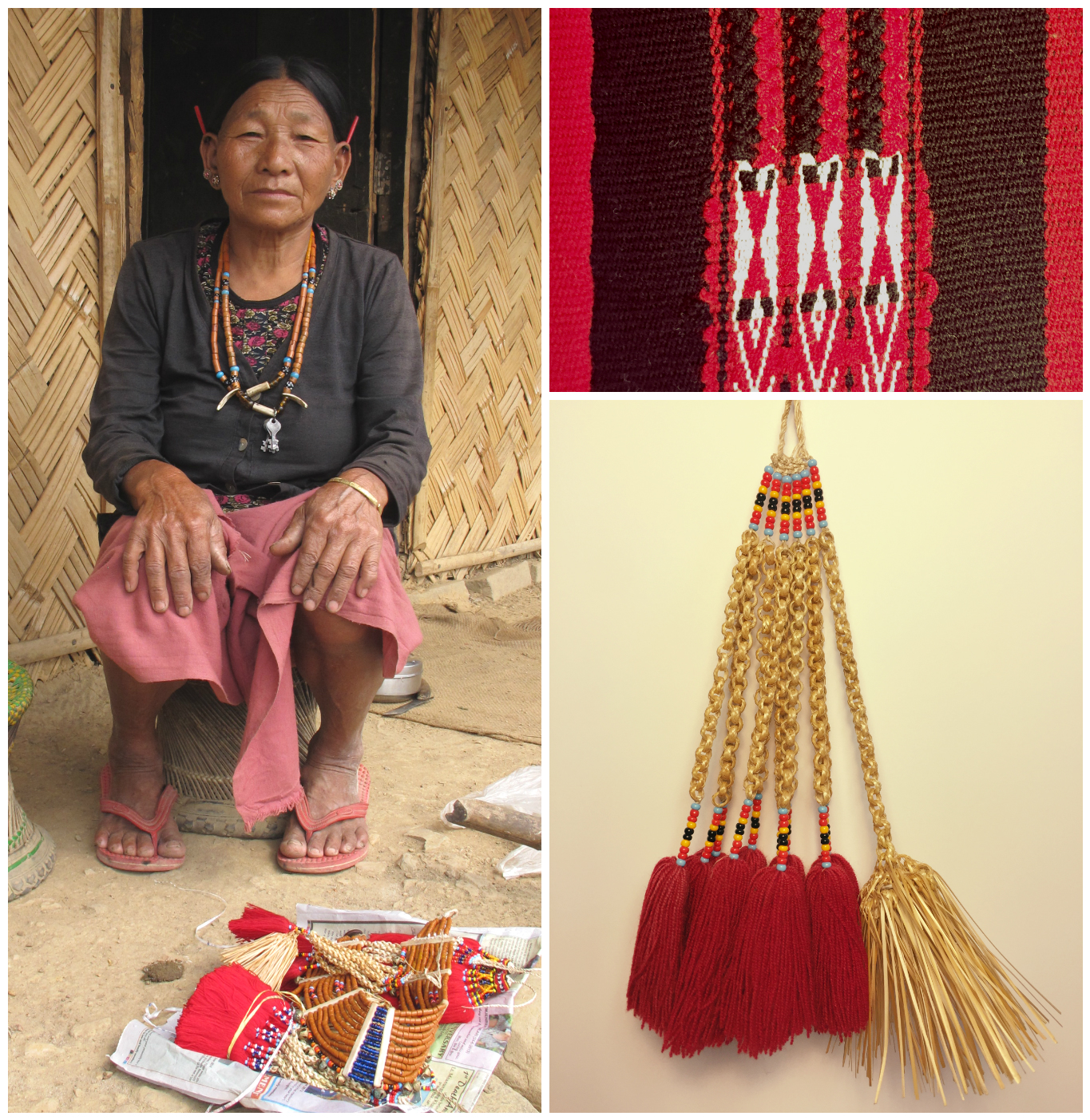An elder woman of the Hong Phoi village in Nagaland, India, sharing her traditional crafted adornments typically worn for the annual Hornbill Festival.