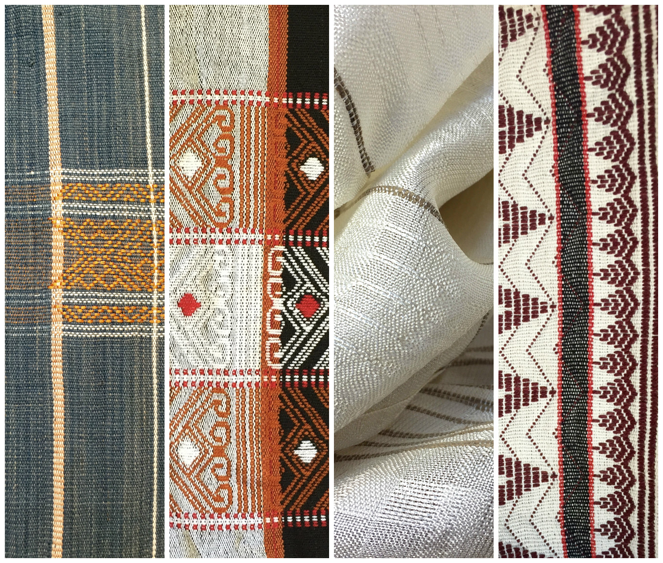 Far Left and Right: cotton scarf and throw with Naga designs by Chin ethnic weavers from Myanmar; Second left: cotton shaman shawl from the Apatani tribe, Ziro Valley in Arunachal Pradesh, India; Second right: silk and lotus thread scarf from Paw Khone Village, Myanmar.