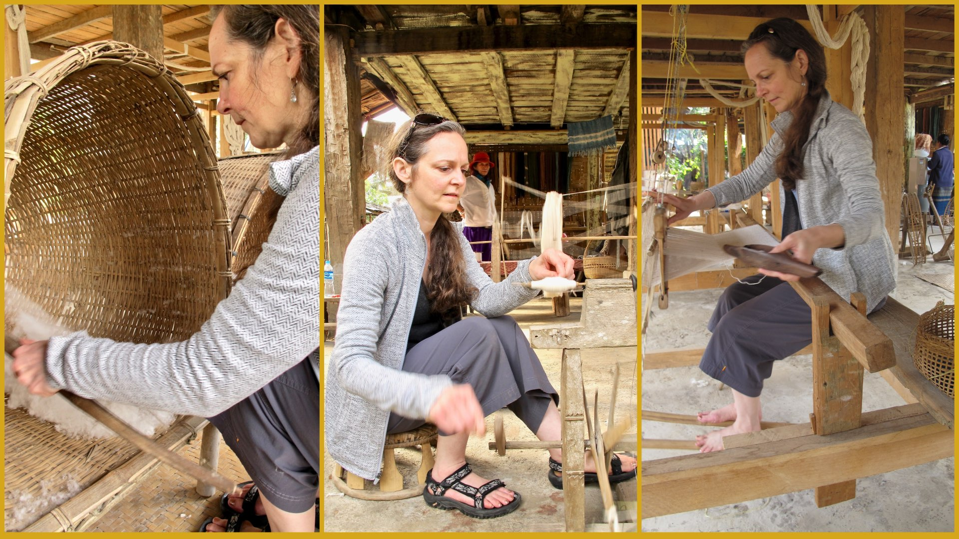 Learning cotton spinning and weaving at Ban Lue Handcrafts and Homestay in Nayang Nua in northern Laos.