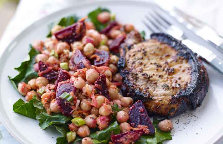 Honey-&-Ginger-Infused-beetroot,-chickpea-and-baby-kale-salad-with-pork-chops-and-beetroot-ketchup-outside.jpg