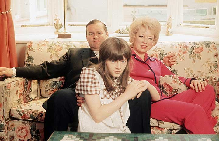 With husband Timothy and daughter Suzy in 1972