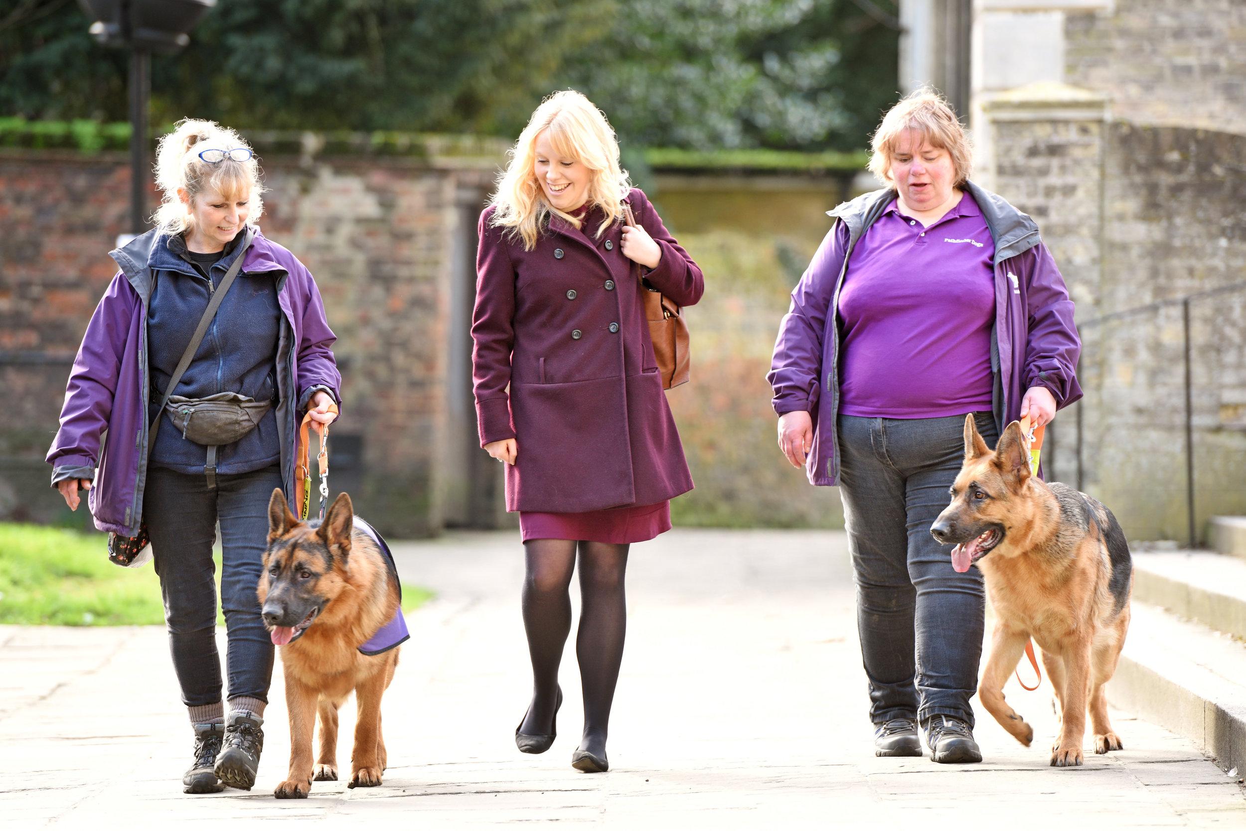 Senior news writer, Katharine Wootton, takes a walk with Anne, Debbie, Karma and Kayra