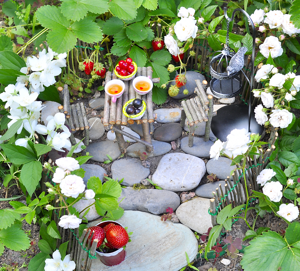 Why not create a tiny picnic for fairies?