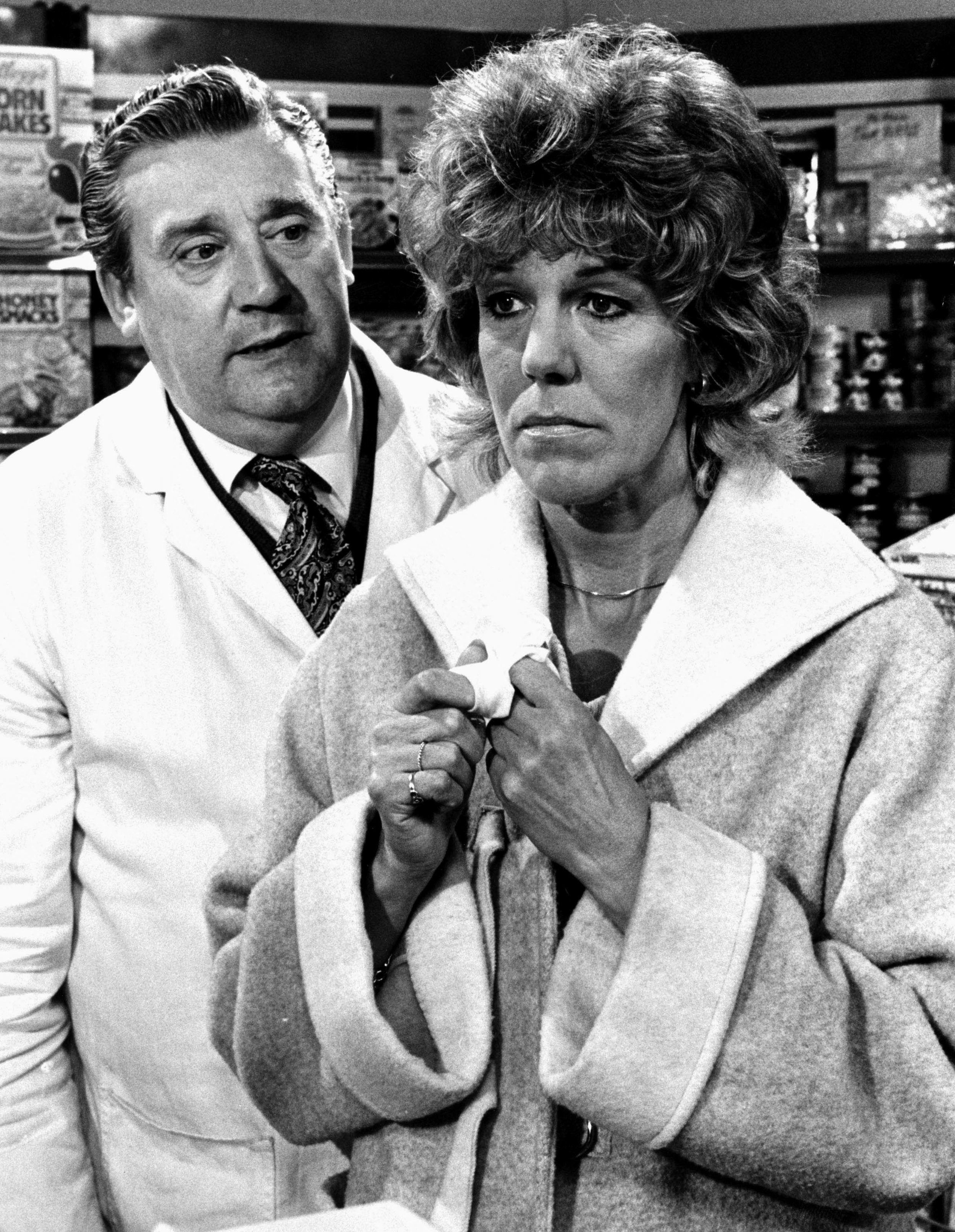 The way they were... Sue and Bryan Mosley on screen in 1985