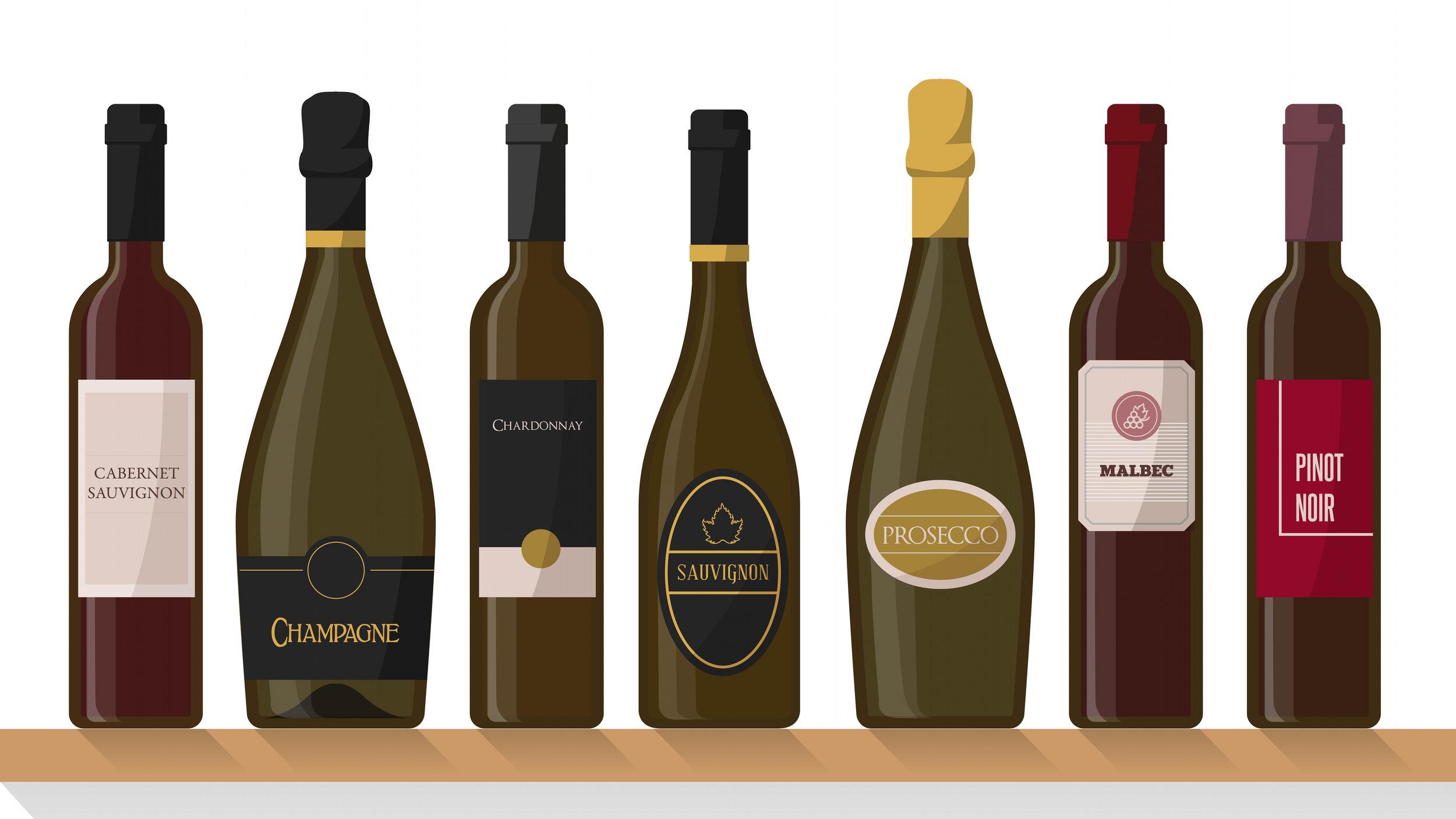 wine and prosecco