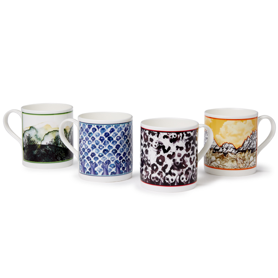 Collection of mugs in the four new designs