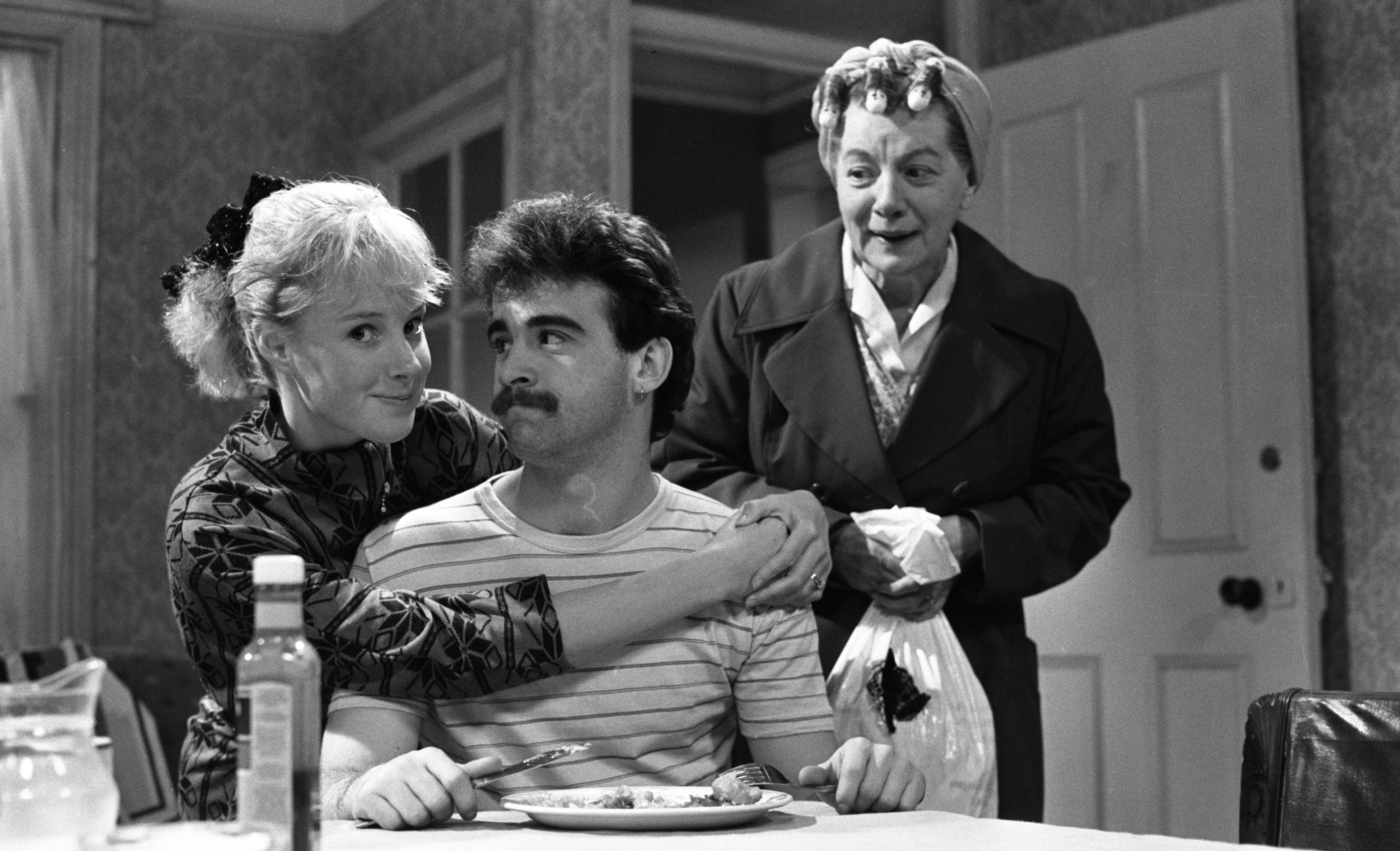 Sally in 1987 with Michael and Jean Alexander (as Hilda Ogden)