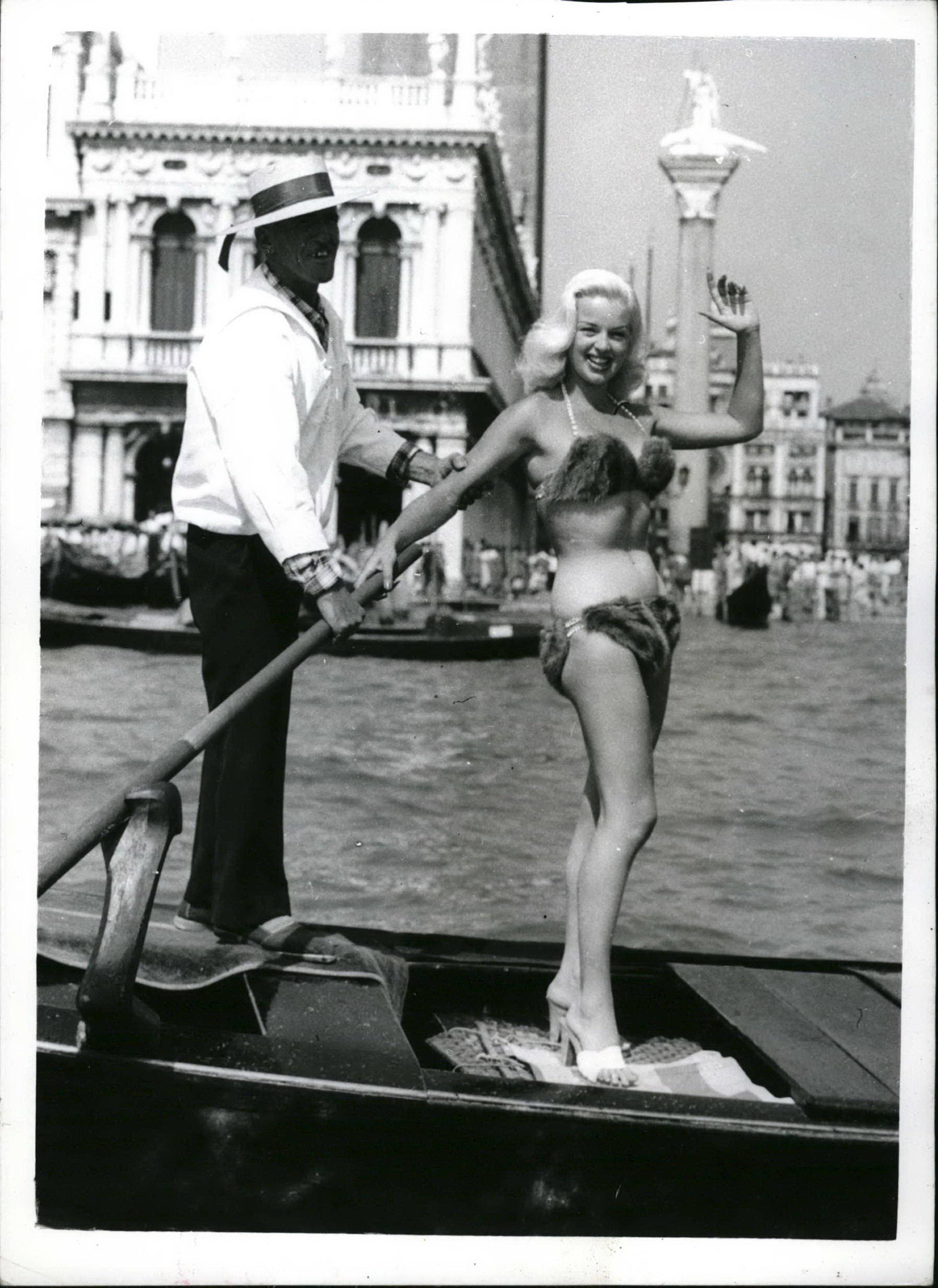 Diana Dors in her mink bikini - not terribly practical!