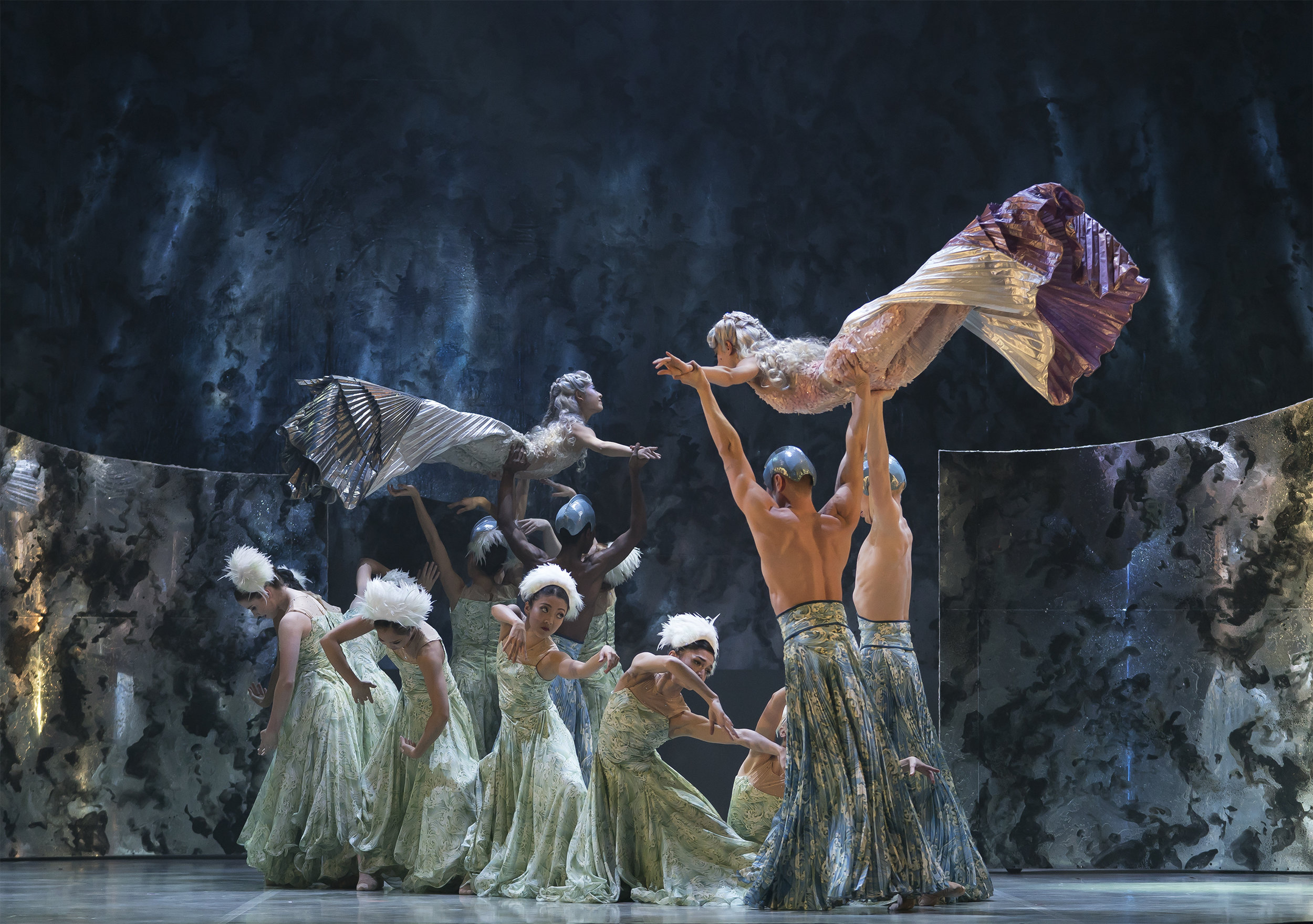 Ailen Ramos Betancourt as Evelina and Miki Akuta as Erina with company dancers in Northern Ballet's The Little Mermaid. Photo Emma Kauldhar.jpg