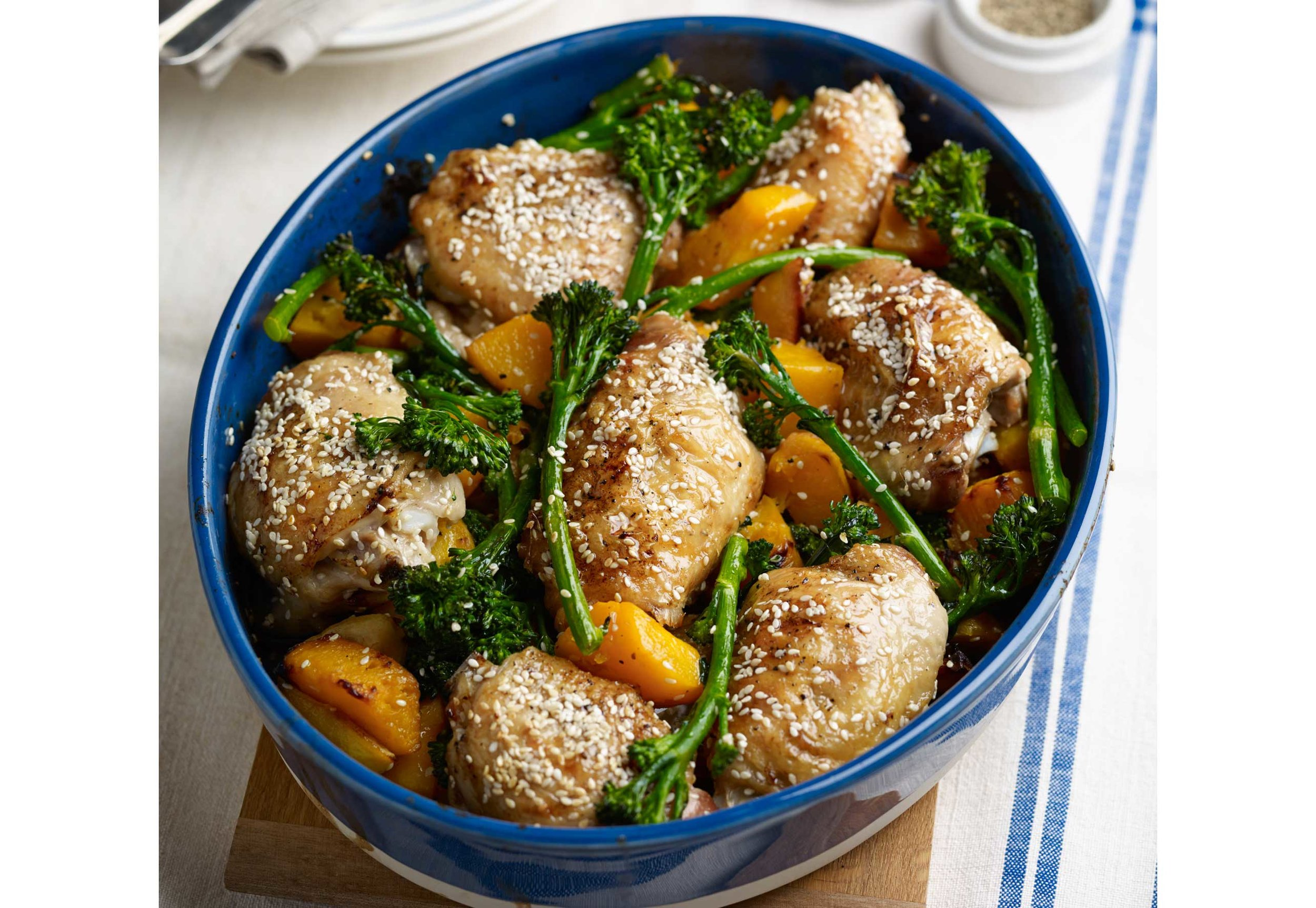 One-pan-roast-lunch-with-sesame-lemon-chicken,-Tenderstem-and-butternut-squash,-served-with-steamed-rice.jpg